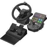 Saitek Heavy Equipment Wheel, Pedals and Side Panel Control Deck Bundle for PC
