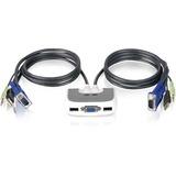 IOGEAR MiniView Micro USB Plus 2-Port KVM Switch - 2 Computer(s) - 1 Local User(s) - 2048 x 1536 - 2 x USB1 x VGA (GCS632U)