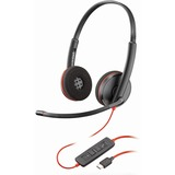 Plantronics Blackwire C3220 Headset - Stereo - Black - USB Type C - Wired - 20 Hz - 20 kHz - Over-the-head - Binaural (209749-101)