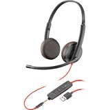 Plantronics Blackwire C3225 Headset - Stereo - Black - USB Type A, Mini-phone - Wired - 20 Hz - 20 kHz - Over-the-hea (209747-101)