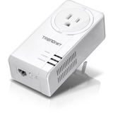 TRENDnet Powerline 1300 AV2 Adapter With Built-in Outlet - 1 x Network (RJ-45) - 1300 Mbit/s Powerline - 984.25 ft Di (TPL-423E)