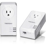 TRENDnet Powerline 1300 AV2 Adapter Kit with Built-in Outlet - 2 - 1 x Network (RJ-45) - 1300 Mbit/s Powerline - 984. (TPL-423E2K)