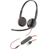 Plantronics Blackwire C3225 Headset - Stereo - Black - USB Type A, Mini-phone - Wired - 20 Hz - 20 kHz - Over-the-hea (209747-22)