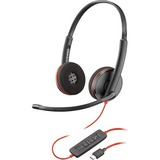 Plantronics Blackwire C3220 Headset - Stereo - Black - USB Type A - Wired - 20 Hz - 20 kHz - Over-the-head - Binaural (209745-22)