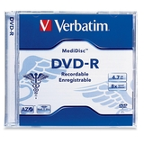 Verbatim MediDisc DVD-R 4.7GB 8X Thermal Printable Branded Surface - 1pk Jewel Case