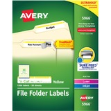 "Avery Filing Labels - Permanent Adhesive - ""0.66"" Width x 3.43"" Length - 30 / Sheet - Rectangle - Laser, Inkjet - Yellow - 1500 / Box"