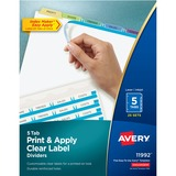 Avery 11992, 5-Colored Tabs Presentation Dividers, AVE11992