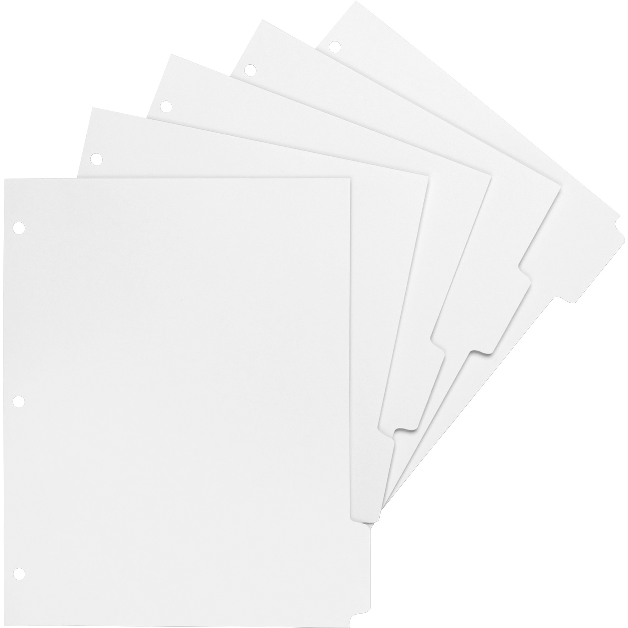 5 print on tabs 850 divider width x 11 divider length letter 3 hole punched bright white paper divider white paper tabs 50 box