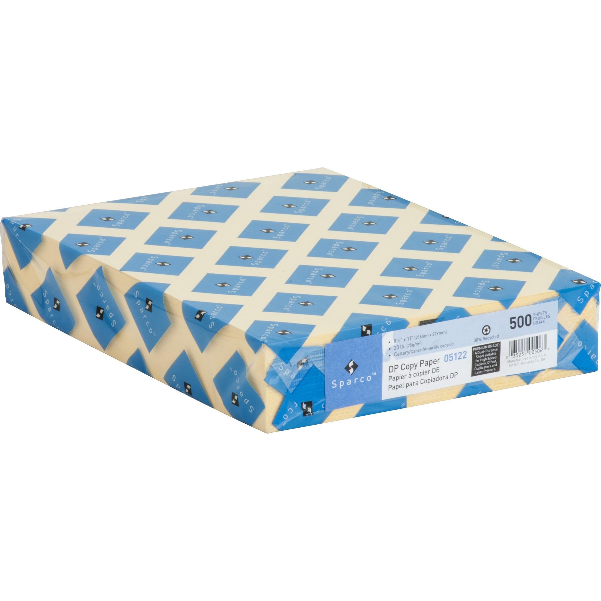 Sparco Premium Grade Pastel Color Copy Paper, Canary, 500 Sheets