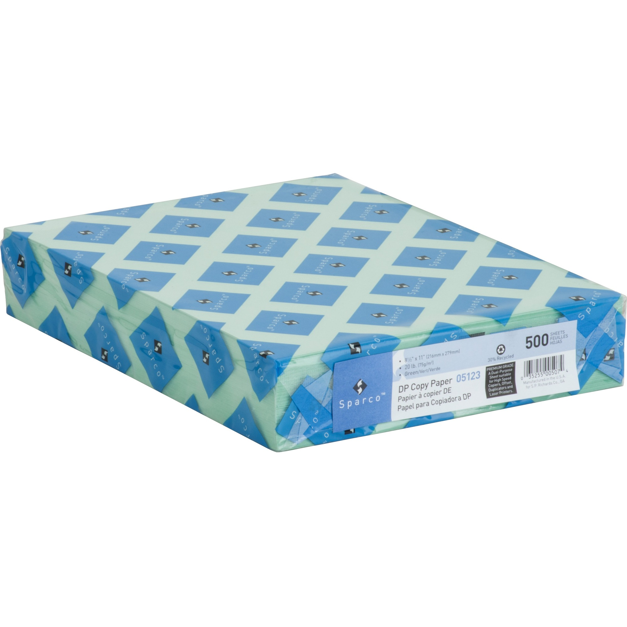Sparco Premium Grade Pastel Color Copy Paper, Green, 500 Sheets