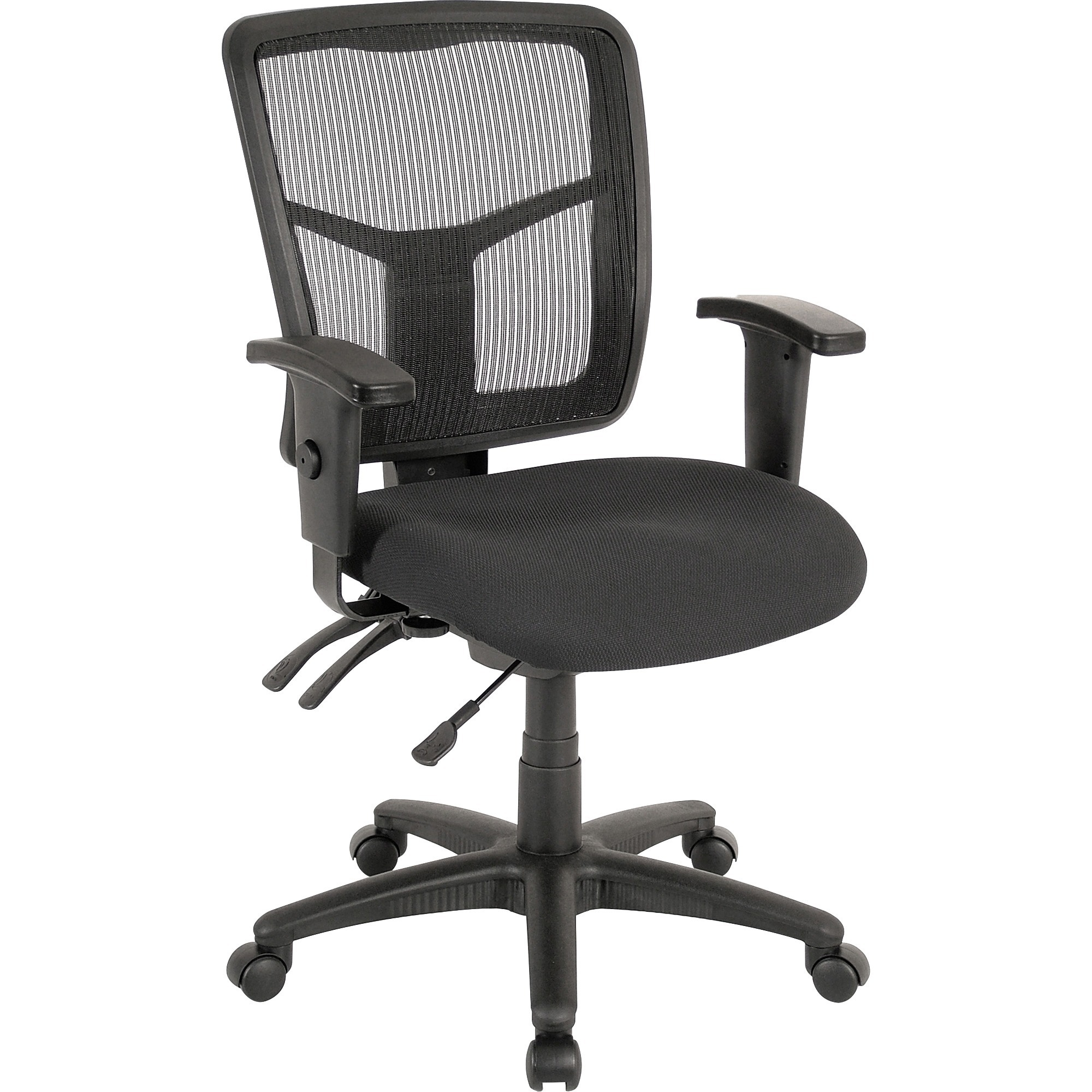 Lorell Ergomesh Series Managerial Mid-back Chair - Fabric Black Seat - Black Back - Black Frame - 5-star Base - 20 Seat Width X 18.70 Seat Depth - 25.3 Width X 23.5 Depth X 40.5 Height