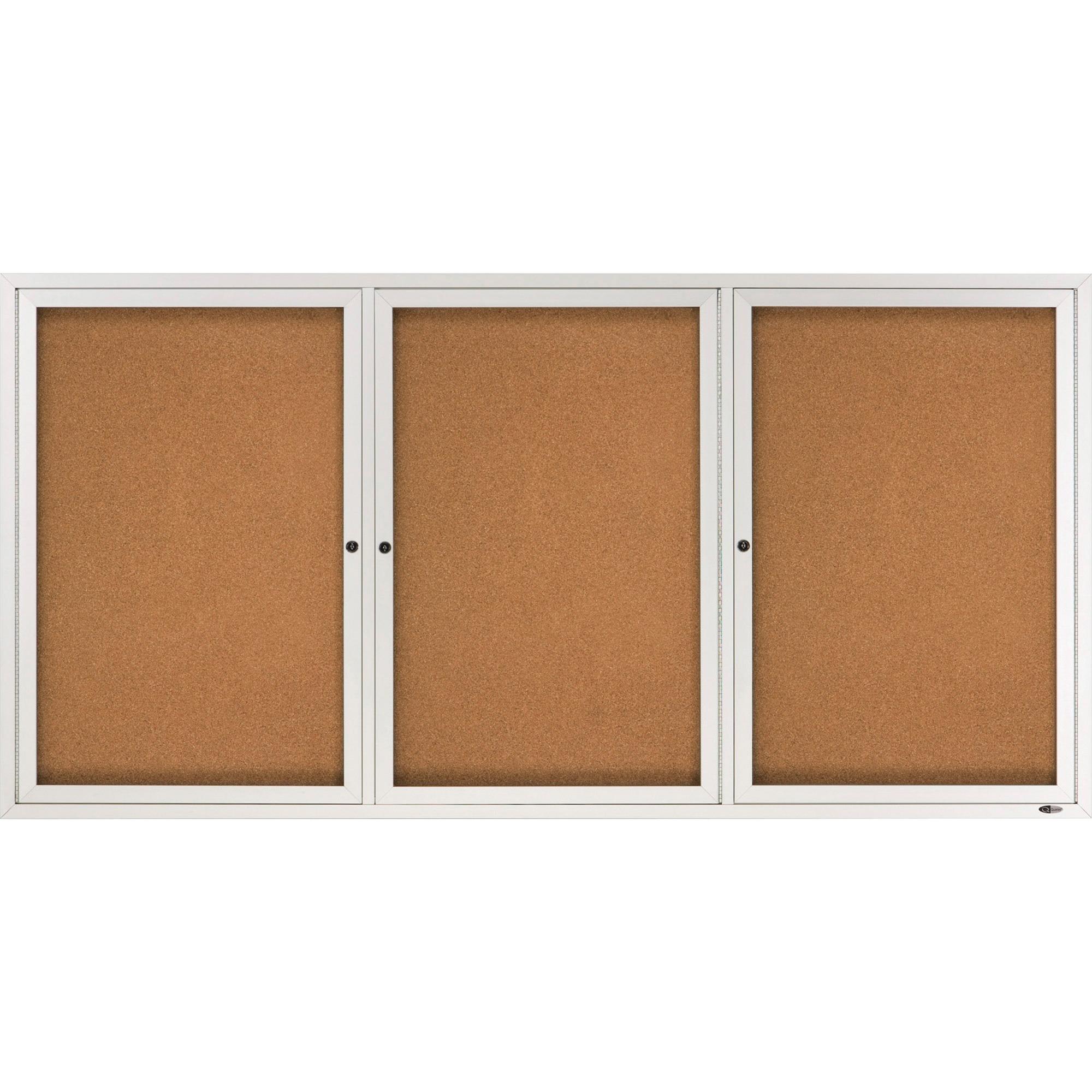 Acco Brands Corporation Quartet® Enclosed Cork Bulletin Board For Indoor Use, 6 X 3, 3 Door, Aluminum Frame - 36 Height X 72 Width - Natural Cork Surface - Aluminum Frame - 1 / Each