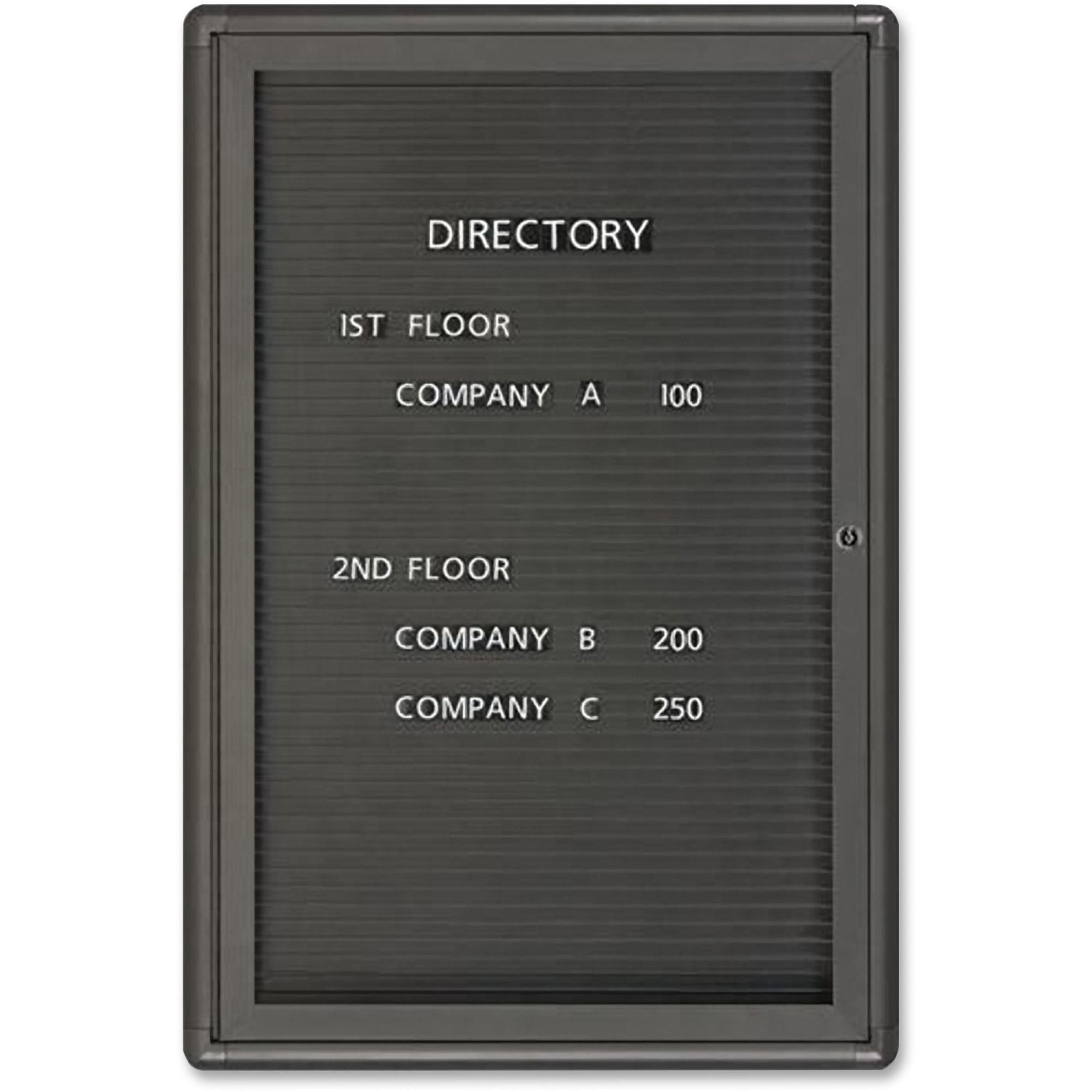 Acco Brands Corporation Quartet® Radius Design Changeable Letter Directory, 2 X 3, 1 Door, Graphite Frame - 36 Height X 24 Width - Black Surface - Graphite Frame - 1 / Each