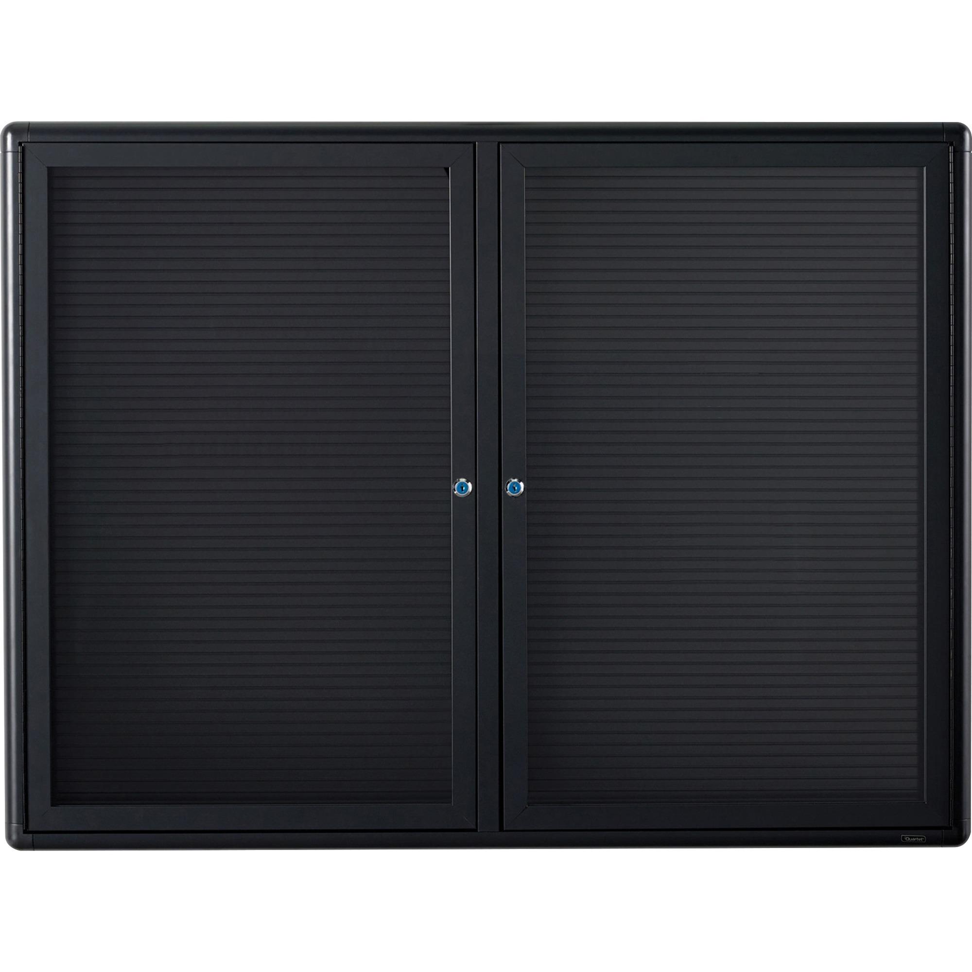 Acco Brands Corporation Quartet® Radius Design Changeable Letter Directory, 4 X 3, 2 Door, Graphite Frame - 36 Height X 48 Width - Black Surface - Graphite Frame - 1 / Each