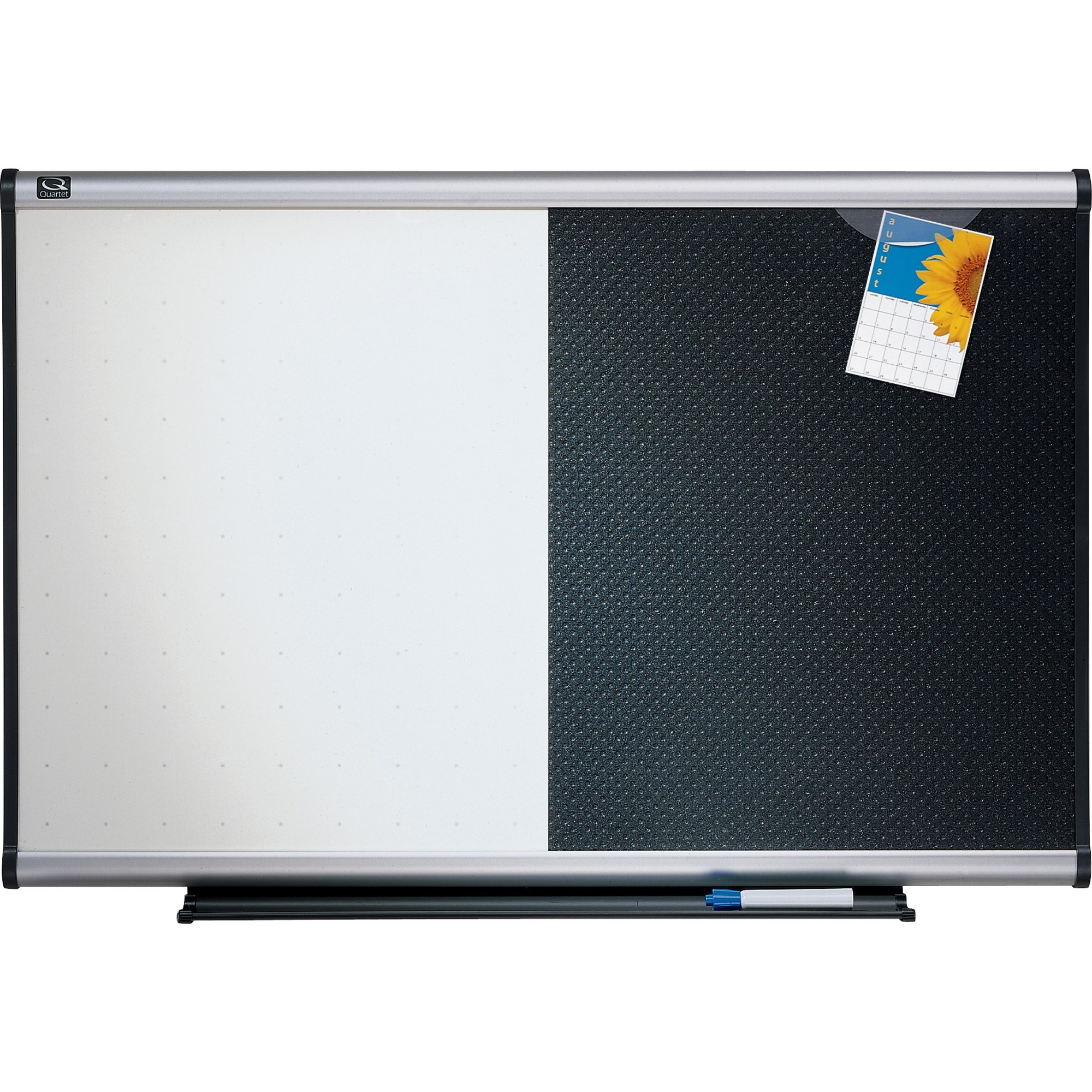 Acco Brands Corporation Quartet® Prestige® Combination Board, 3 X 2, Total Erase®/embossed Foam, Aluminum Frame - 36 (3 Ft) Width X 24 (2 Ft) Height - Black Foam Surface - Silver Aluminum Frame - Horizontal - 1 / Each