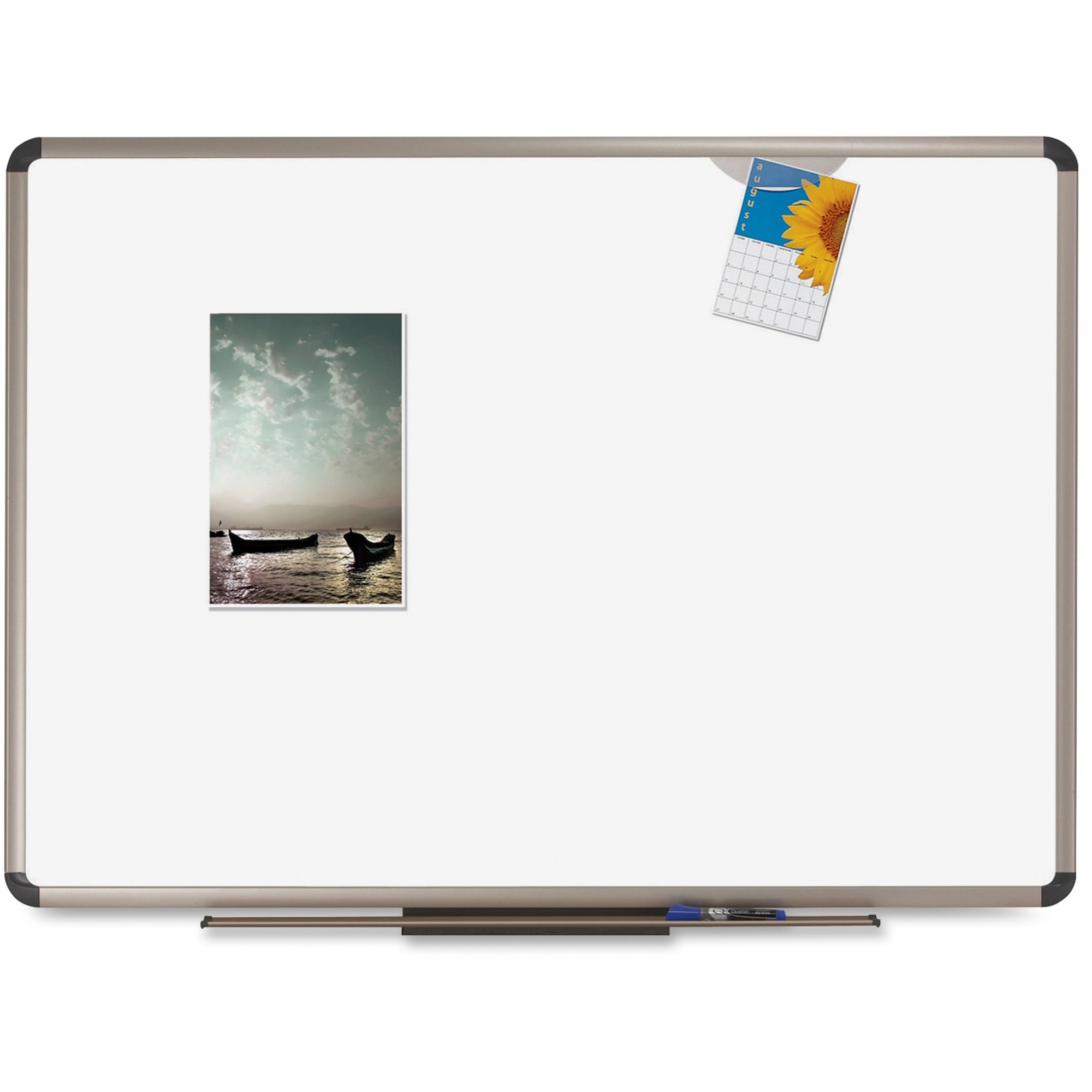 Acco Brands Corporation Quartet® Prestige Plus® Duramax® Porcelain Whiteboard - 36 (3 Ft) Width X 24 (2 Ft) Height - White Porcelain Surface - Titanium Aluminum Frame - Rectangle - Horizontal - Wall Mount - 1 / Each - Taa Compliant