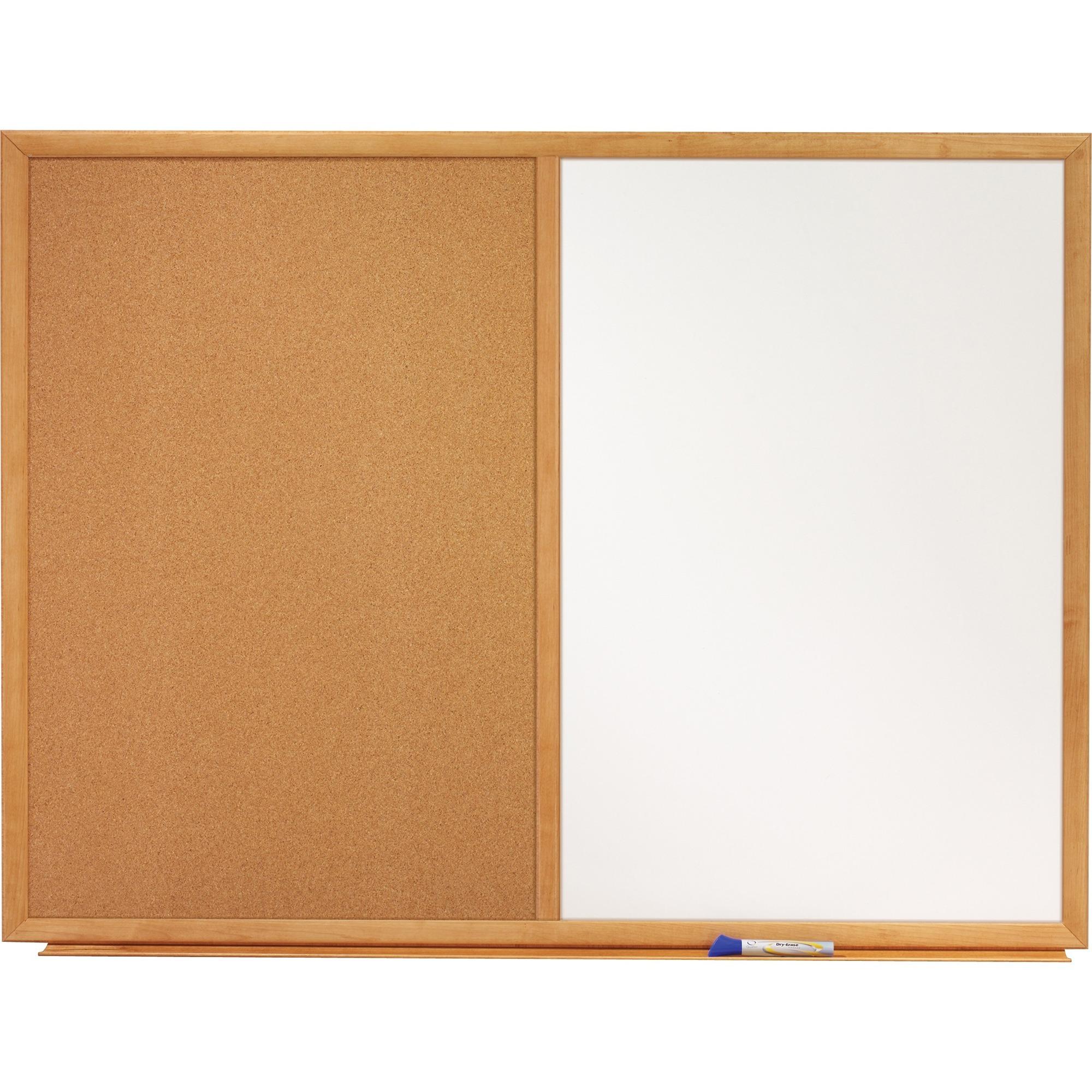 Acco Brands Corporation Quartet® Standard Combination Whiteboared/cork Bulletin Board, 3 X 2, Oak Finish Frame - 36 (3 Ft) Width X 24 (2 Ft) Height - White Melamine Surface - Oak Frame - Rectangle - Horizontal/vertical - 1 / Each