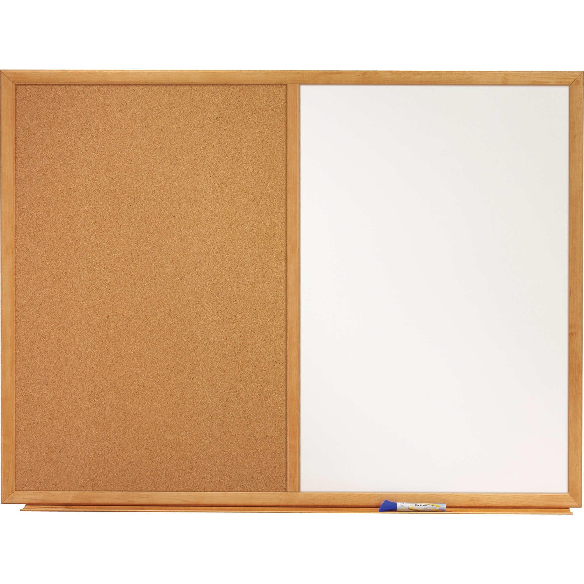 Acco Brands Corporation Quartet® Standard Combination Whiteboared/cork Bulletin Board, 4 X 3, Oak Finish Frame - 48 (4 Ft) Width X 36 (3 Ft) Height - White Melamine Surface - Oak Frame - Rectangle - Horizontal/vertical - 1 / Each