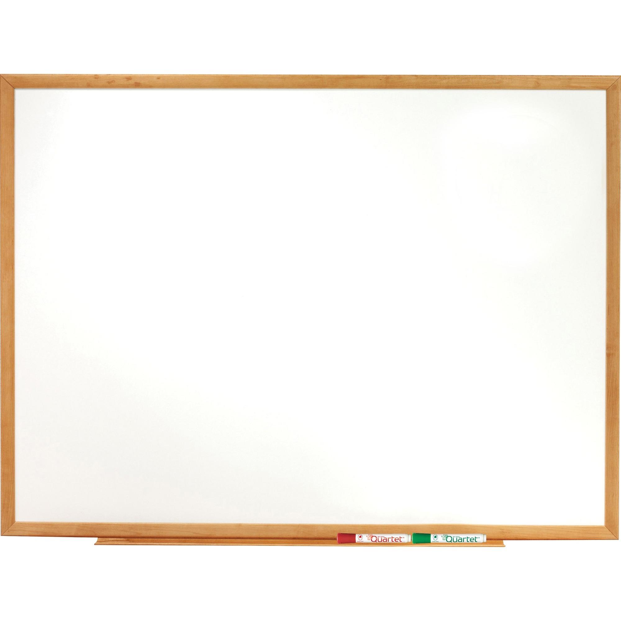 Acco Brands Corporation Quartet® Classic Whiteboard - 48 (4 Ft) Width X 36 (3 Ft) Height - White Melamine Surface - Oak Frame - Horizontal/vertical - 1 Each