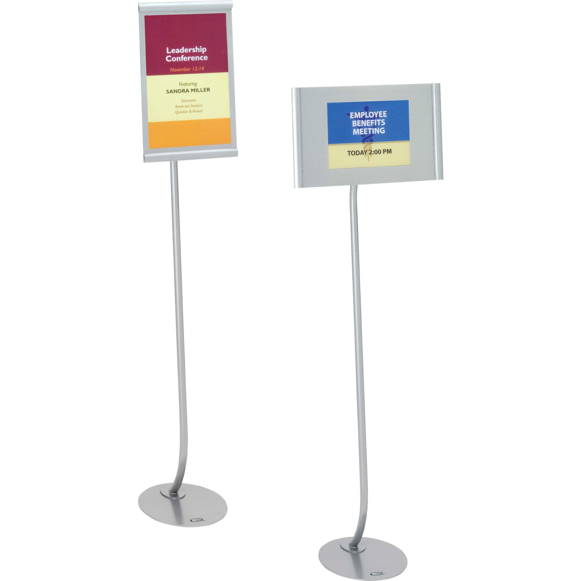 Acco Brands Corporation Quartet® Designer Sign Stand, 59, Freestanding, 11 X 17 Frame - 1 Each - 59 Height - 11 Holding Width X 17 Holding Height - Rectangular Shape - Double-sided, Durable - Aluminum - Silver