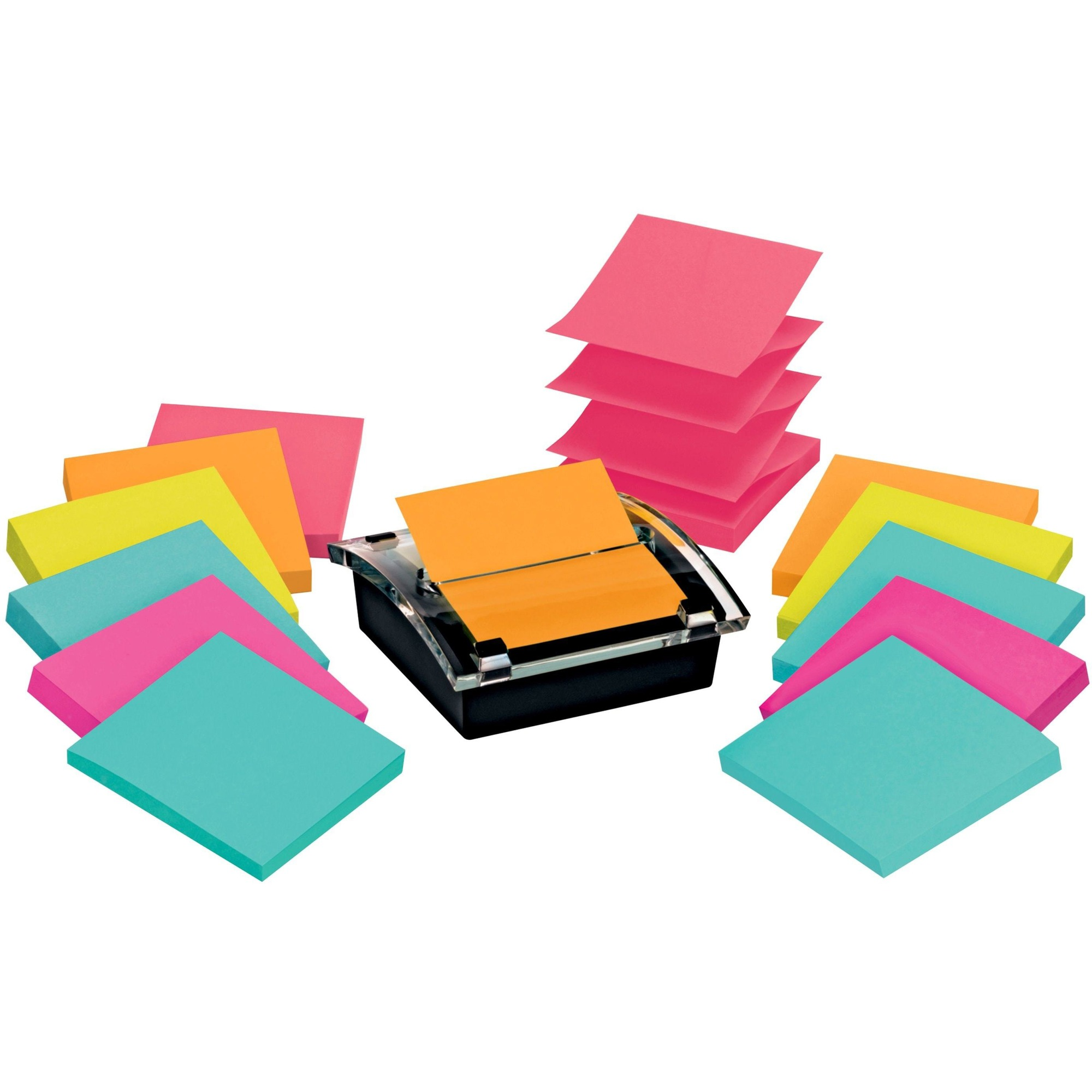3M Post-it® Super Sticky Pop-up Notes Dispenser, 3X 3 - 1080 - 3 X 3 - Square - 90 Sheets Per Pad - Unruled - Assorted - Paper - Self-adhesive - 1 Pack