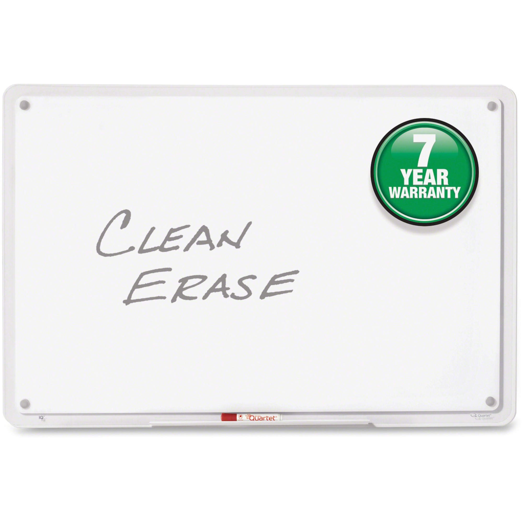 Acco Brands Corporation Quartet® Iq Total Erase® Whiteboard - 46.5 (3.9 Ft) Width X 31 (2.6 Ft) Height - White Surface - Clear, Translucent Frame - Horizontal/vertical - 1 / Each
