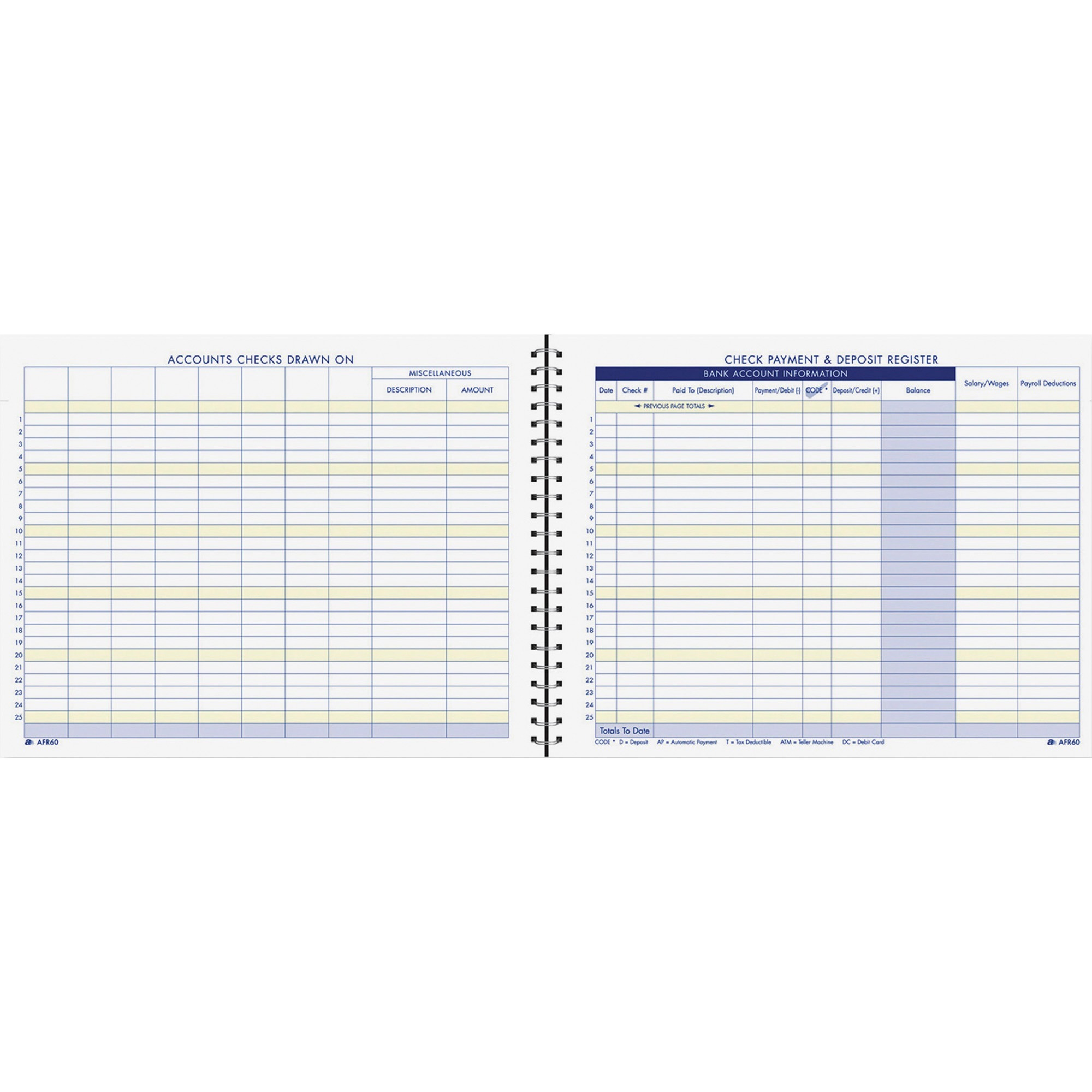 Image for Tops Products Adams Check Payment & Deposit Register - 96 Sheet(S) - 11 X 8 1/2 Sheet Size - White Sheet(S) - 1 Each