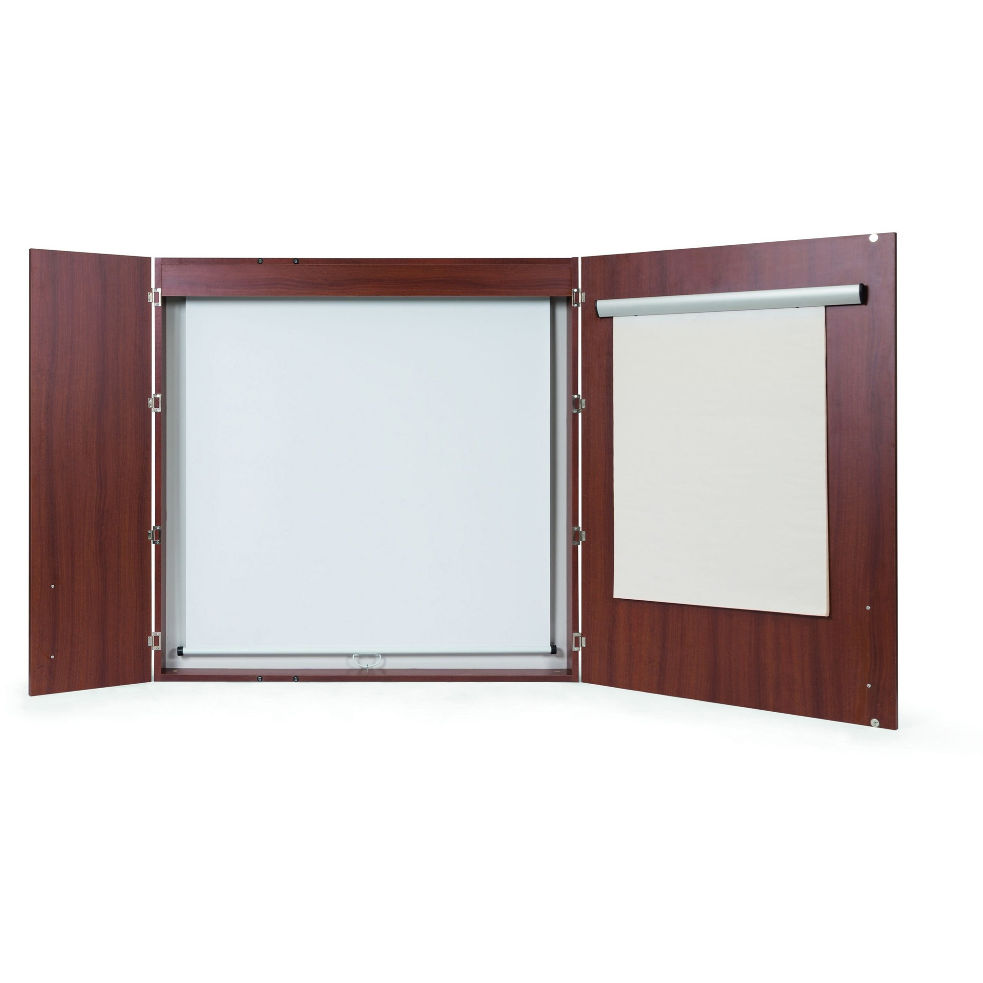 Bi-silque S.a Mastervision 2-door Cherry Conference Cabinet - 48 Height X 48 Width - Porcelain Steel Surface - Cherry Wood Frame - 1 Each