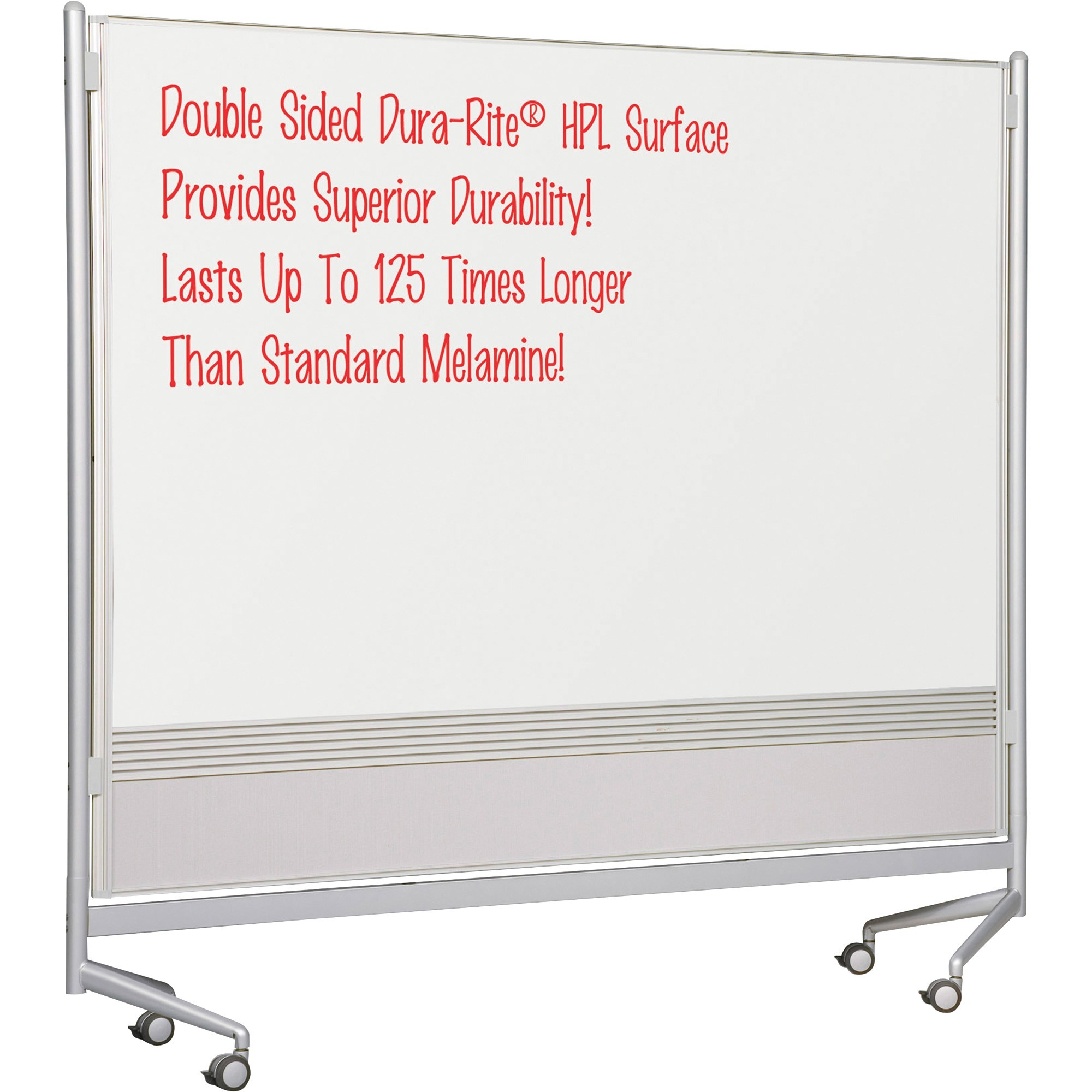 Mooreco, Inc Mooreco Mobile Dry-erase Double-sided Partition - 76 (6.3 Ft) Width X 74 (6.2 Ft) Height - Rectangle - Assembly Required - 1 Each