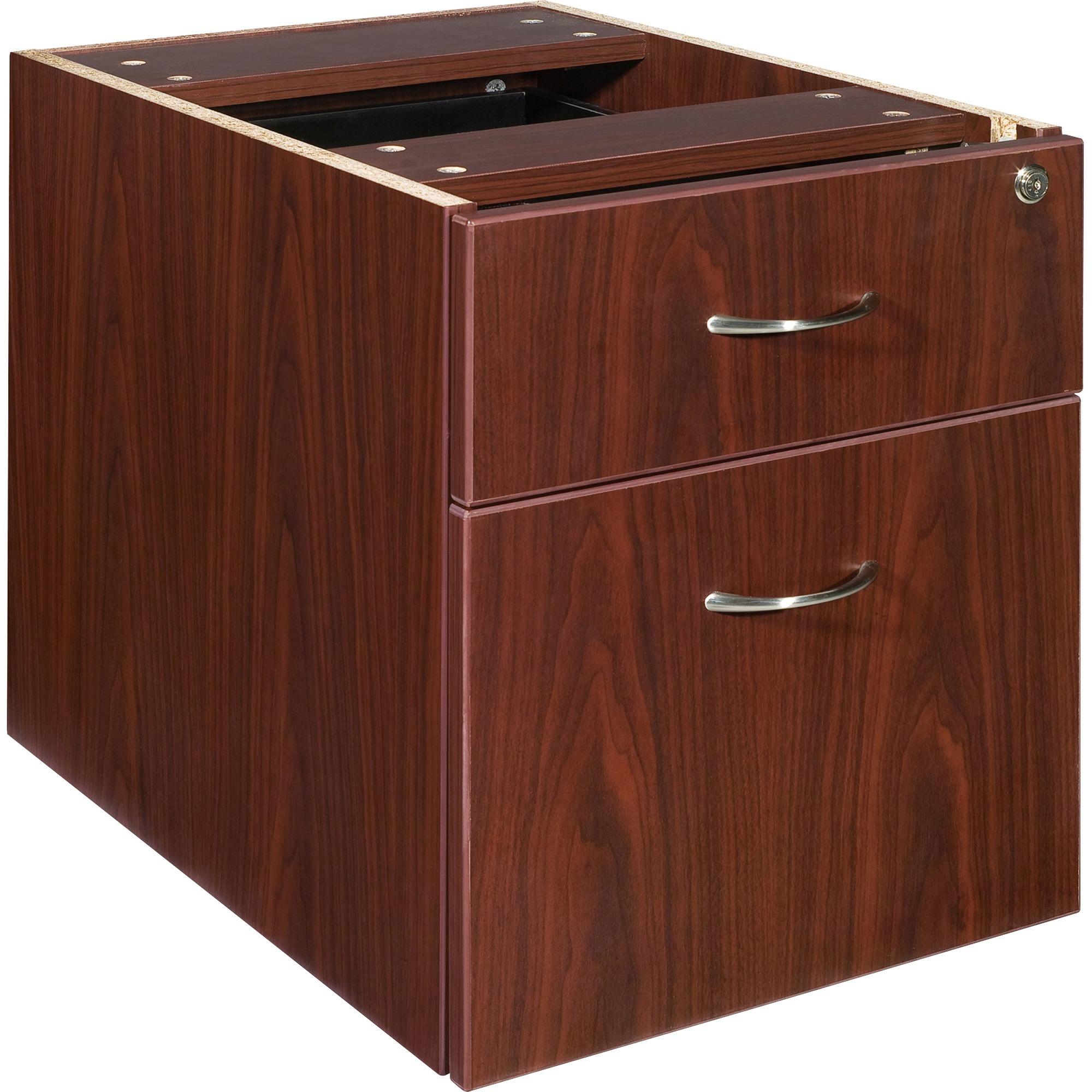 Lorell Essentials Pedestal - 15.5 X 21.9 X 18.9 - 2 X Box Drawer(S), File Drawer(S) - Double Pedestal - Finish: Laminate, Mahogany