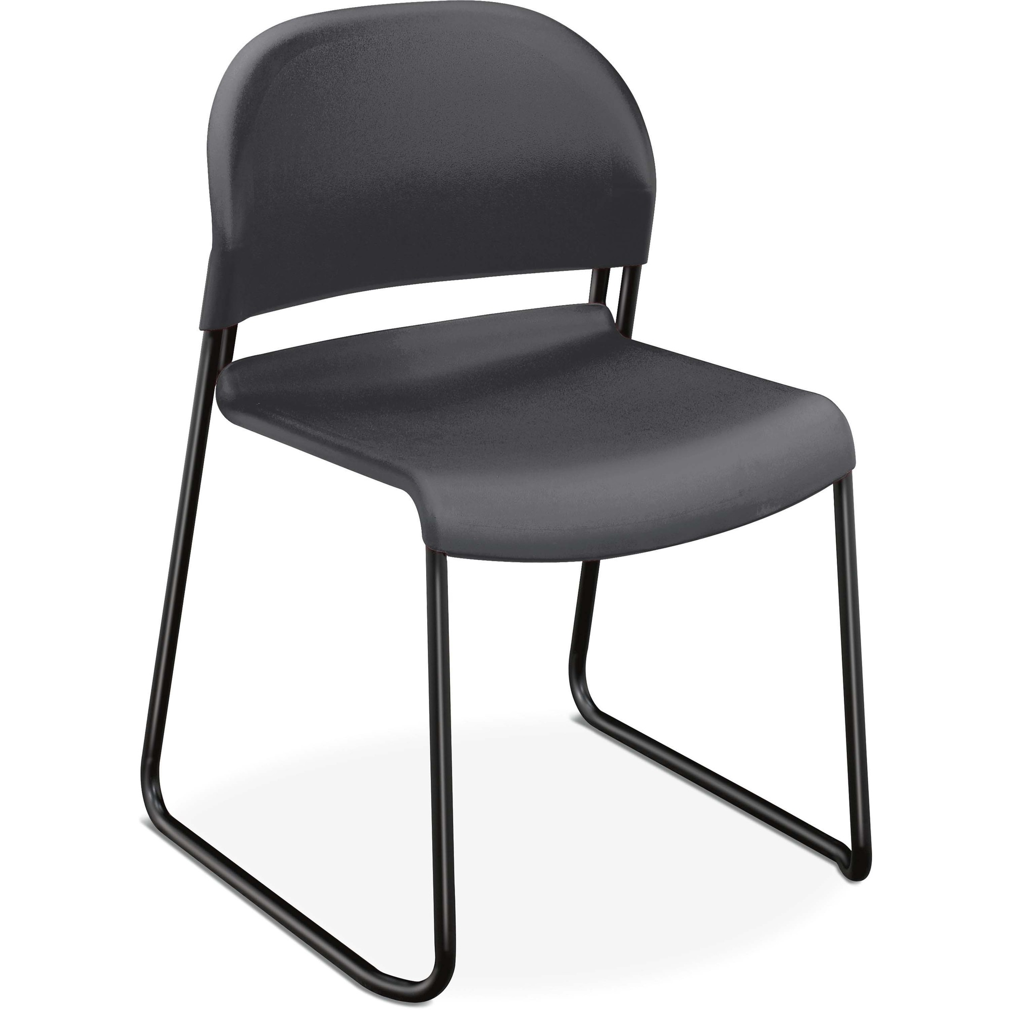 The Hon Company Hon Gueststacker Stacking Chair 4 Pack Plastic Lava Seat Black Frame Black 18 Seat Width X 19 Seat Depth 21 Width X 21 5