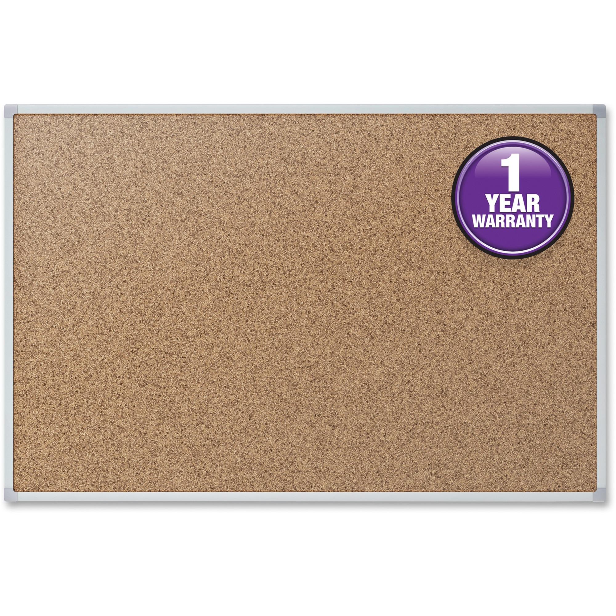 Acco Brands Corporation Mead Cork Surface Bulletin Board - 24 Height X 36 Width - Natural Cork Surface - Self-healing - Silver Aluminum Frame - 1 Each