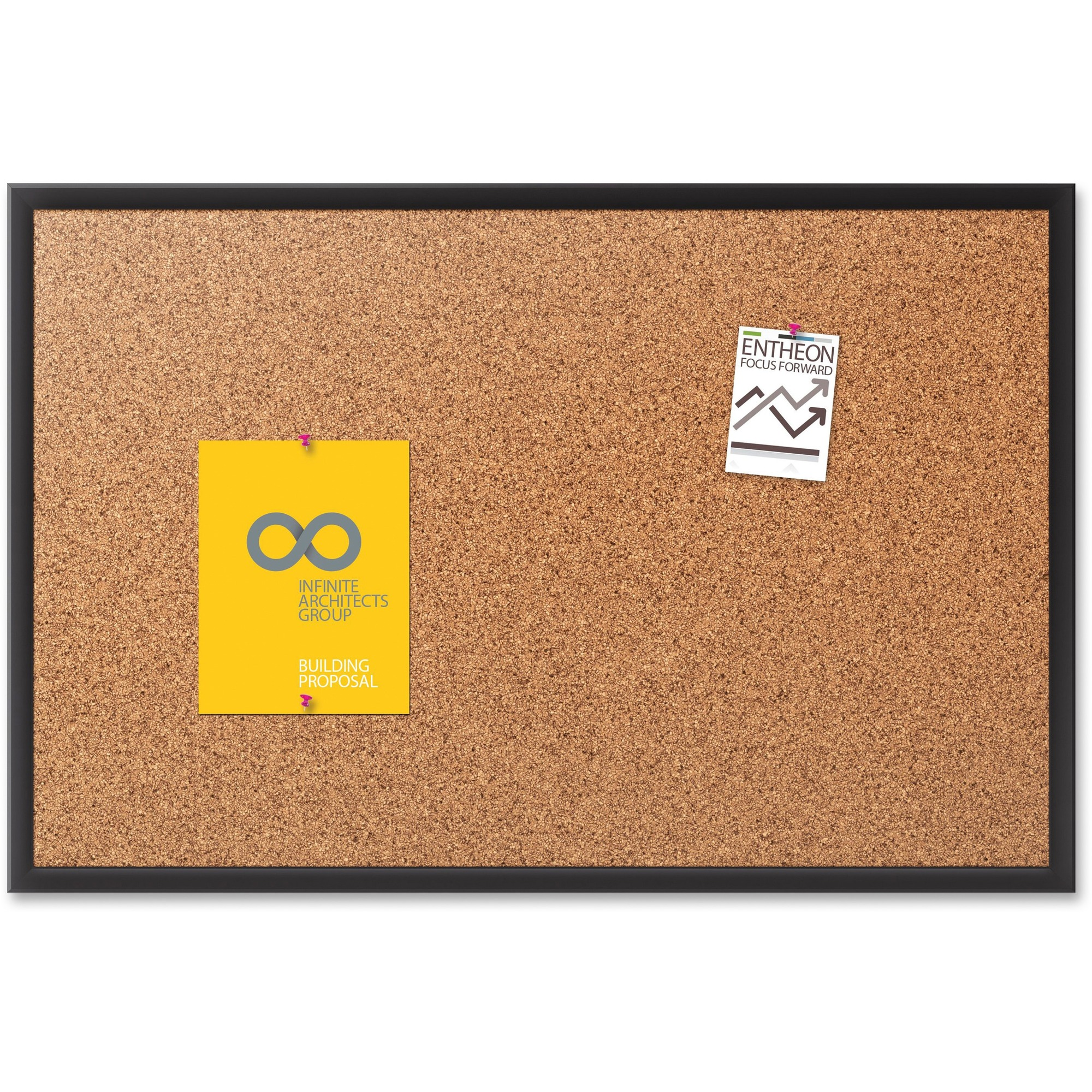 Acco Brands Corporation Quartet® Classic Cork Bulletin Board - 18 Height X 24 Width - Brown Natural Cork Surface - Black Aluminum Frame - 1 / Each