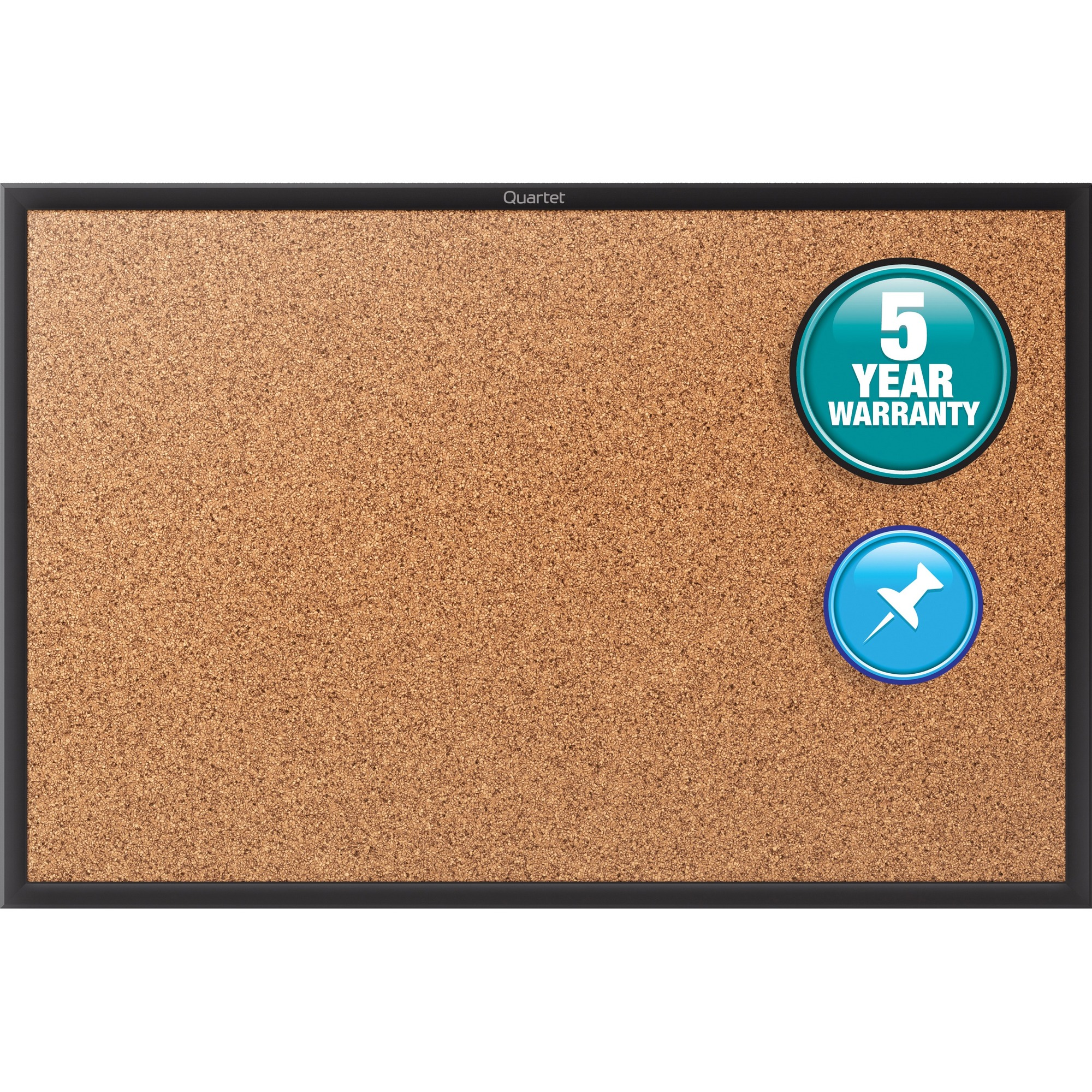 Acco Brands Corporation Quartet® Classic Cork Bulletin Board - 24 Height X 36 Width - Brown Natural Cork Surface - Black Aluminum Frame - 1 / Each