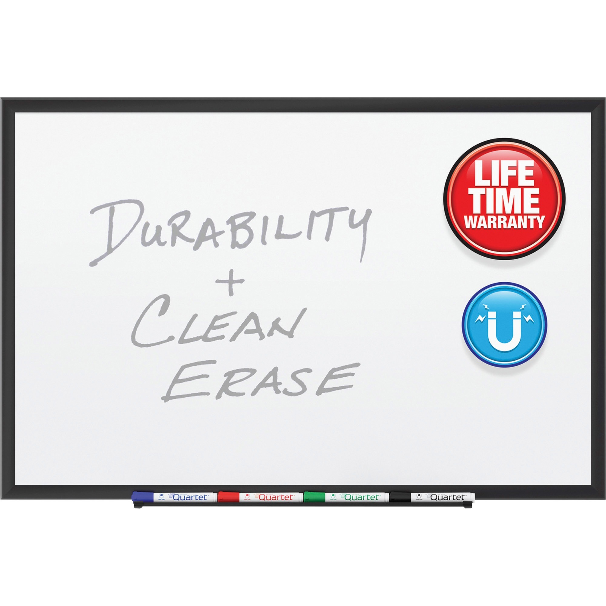Acco Brands Corporation Quartet® Premium Duramax® Porcelain Magnetic Whiteboard, 8 X 4, Black Aluminum Frame - 96 (8 Ft) Width X 48 (4 Ft) Height - White Porcelain Surface - Black Aluminum Frame - Rectangle - Horizontal/vertical - 1 / Each