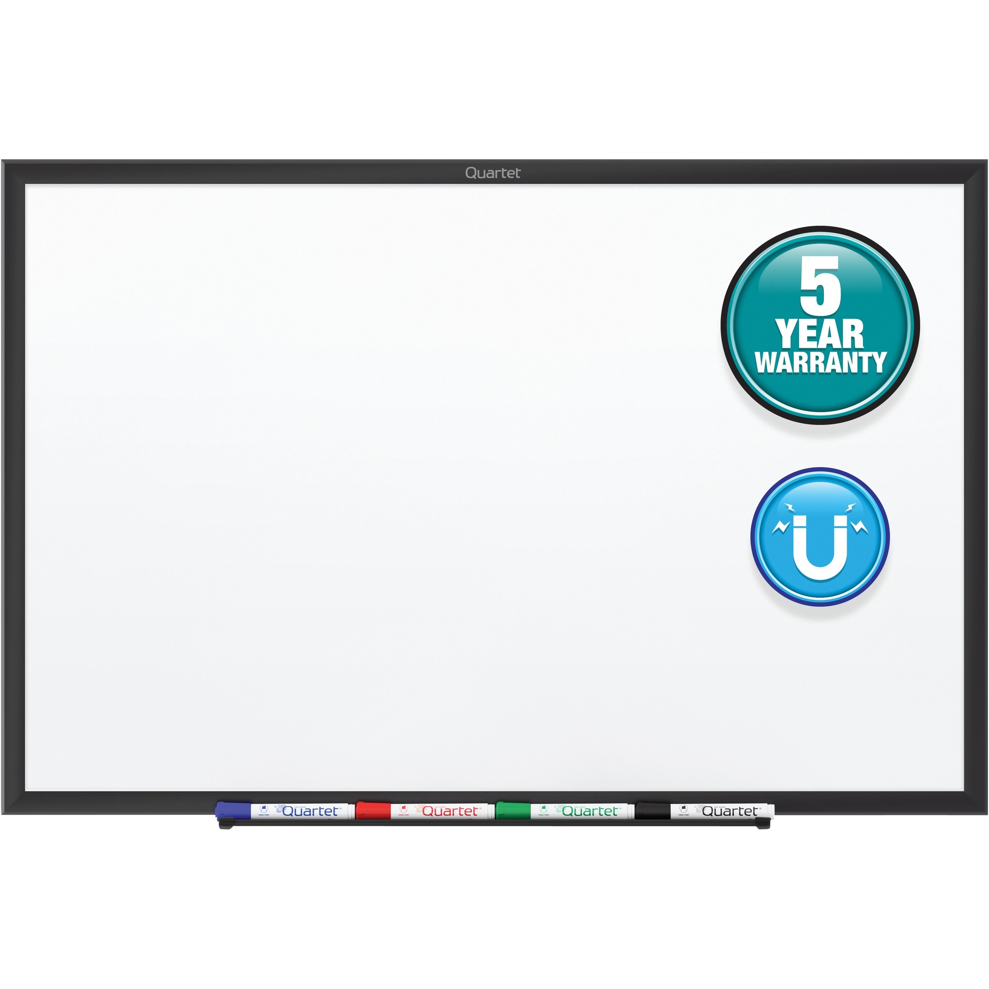 Acco Brands Corporation Quartet® Classic Magnetic Whiteboard - 36 (3 Ft) Width X 24 (2 Ft) Height - White Painted Steel Surface - Black Aluminum Frame - Horizontal/vertical - 1 Each