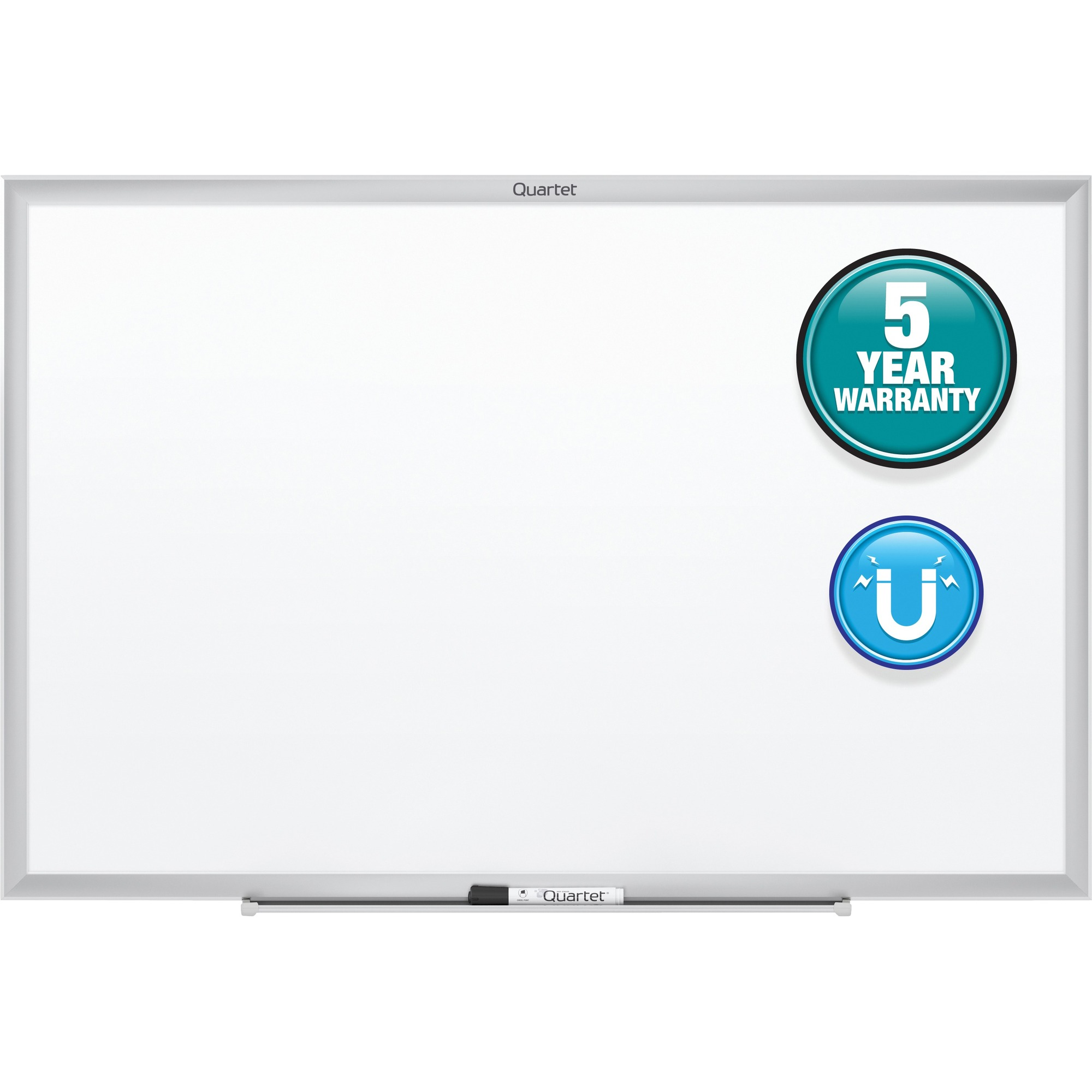 Acco Brands Corporation Quartet® Classic Magnetic Whiteboard - 96 (8 Ft) Width X 48 (4 Ft) Height - White Painted Steel Surface - Silver Aluminum Frame - Horizontal/vertical - 1 Each - Taa Compliant