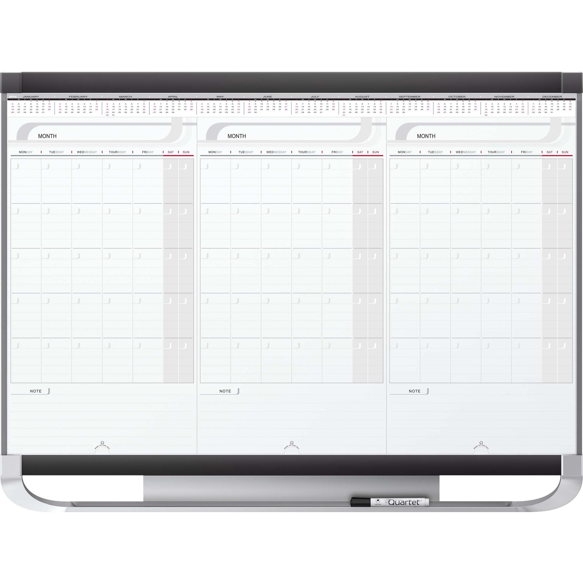 Acco Brands Corporation Quartet® Prestige® 2 Sliding Three Month Calendar Board, 3 X 2, Total Erase® Surface - Monthly, Daily, Quarterly - 3 Month - Wall Mountable - Graphite, White - Stain Resistant, Ghost Resistant, Erasable, Durable, Marker
