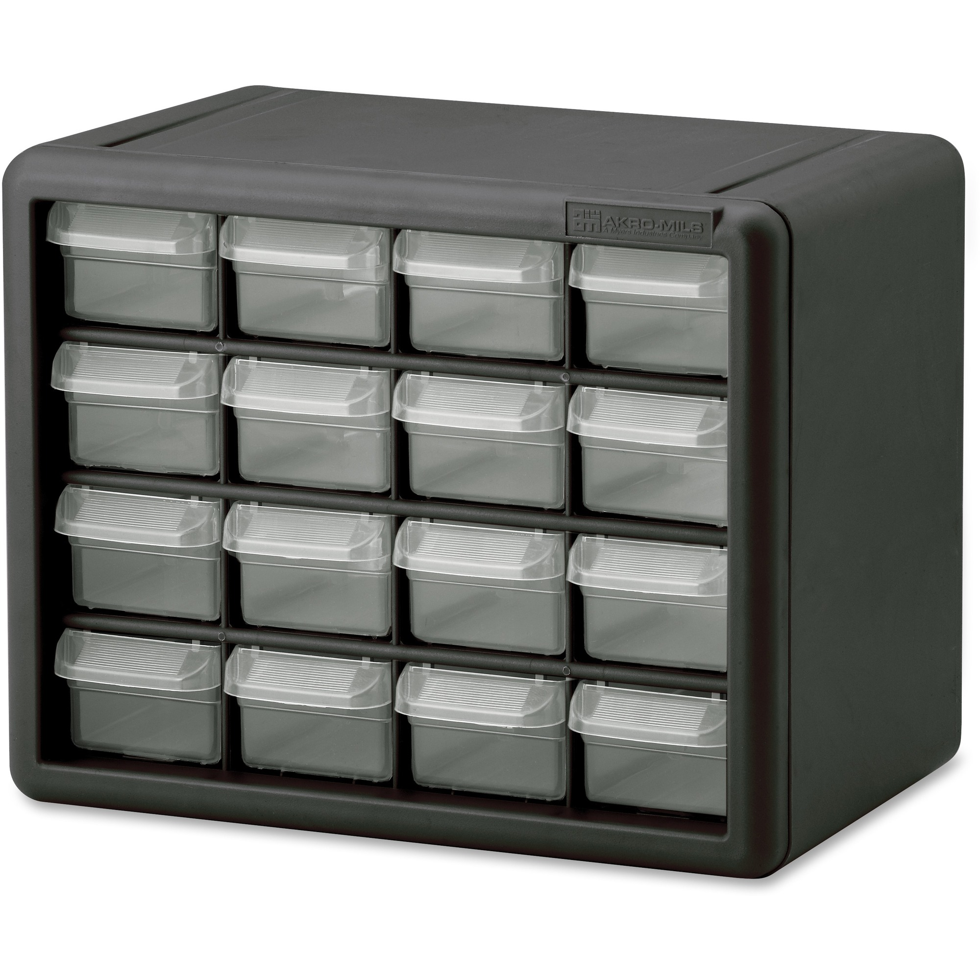 Image for Akro-mils / Myers Industries, Inc Akro-mils 16-drawer Plastic Storage Cabinet - 16 Drawer(S) - 8.5 Height X 6.4 Width - Floor, Wall Mountable - Black, Clear - Polymer, Plastic - 1EACH
