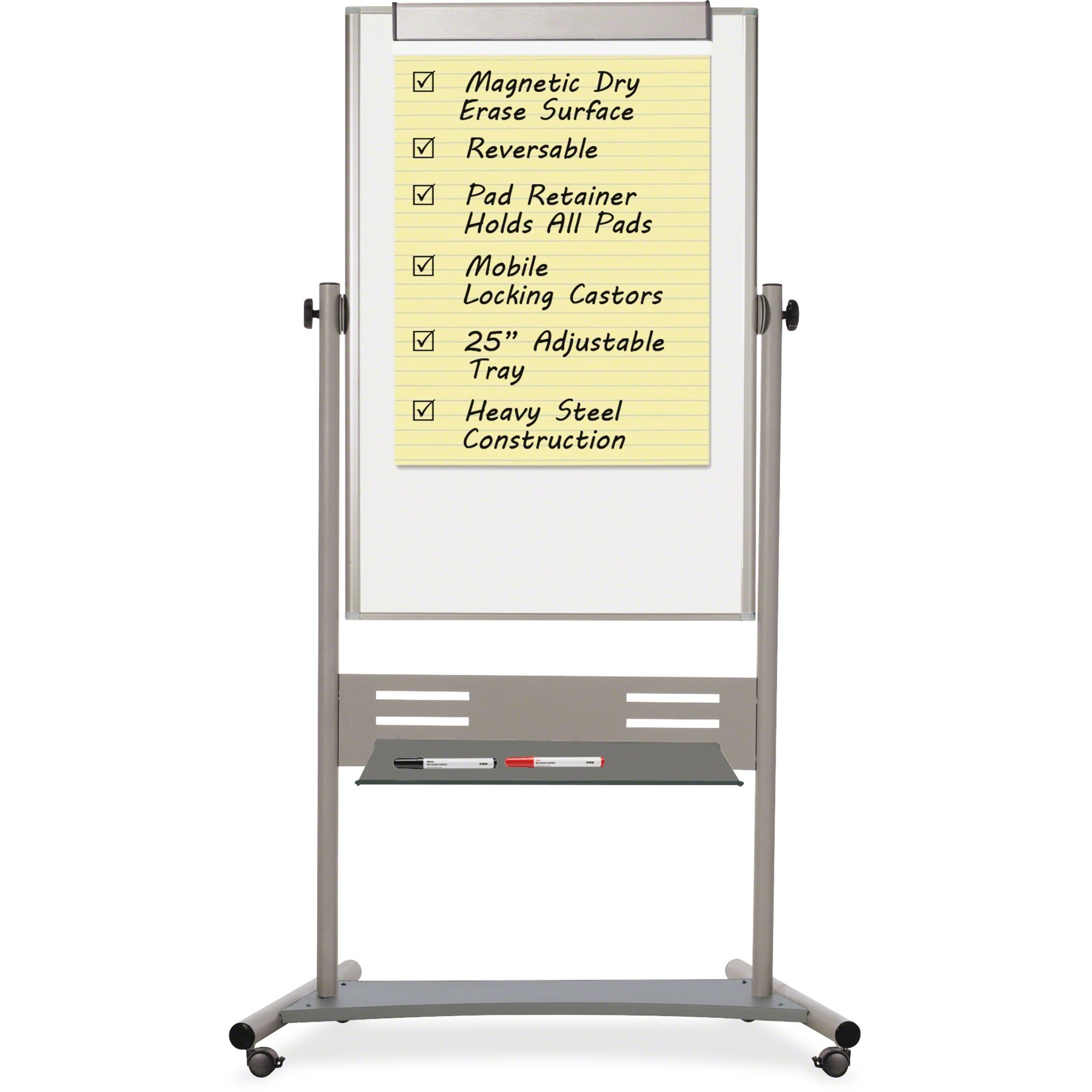 Bi-silque S.a Mastervision Magnetic Dry Erase 2-sided Easel - 47.2 (3.9 Ft) Width X 35.4 (3 Ft) Height - Assembly Required - 1 / Each