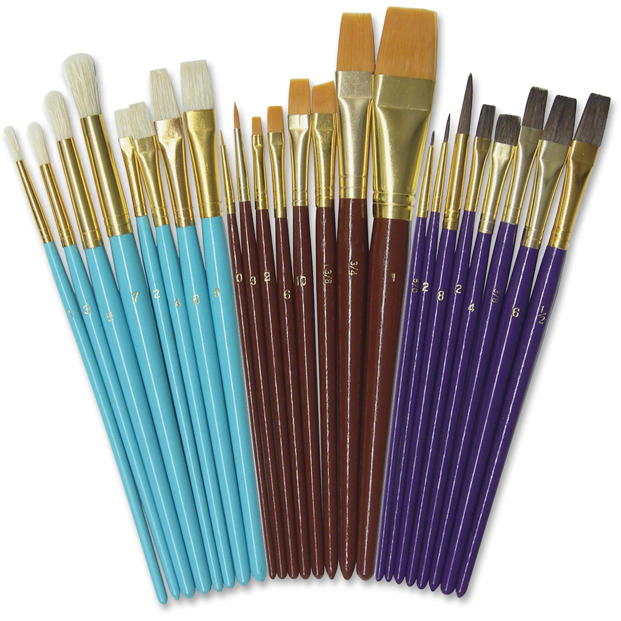 Pacon Corporation Creativity Street Deluxe Brush Assortment - 24 Brush(Es) Natural Wood - Aluminum Ferrule