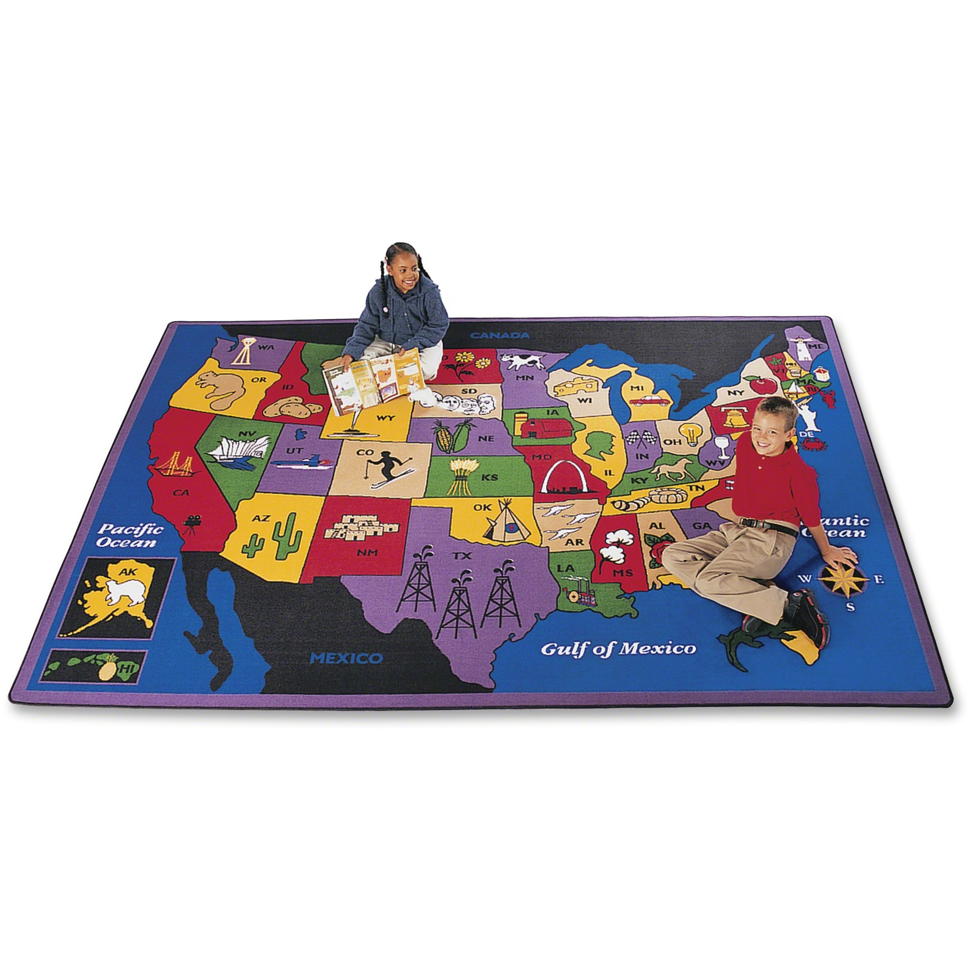 Carpets For Kids Discover America Us Map Area Rug - Kids - 69.96 Length X  99.96 Width - Rectangle