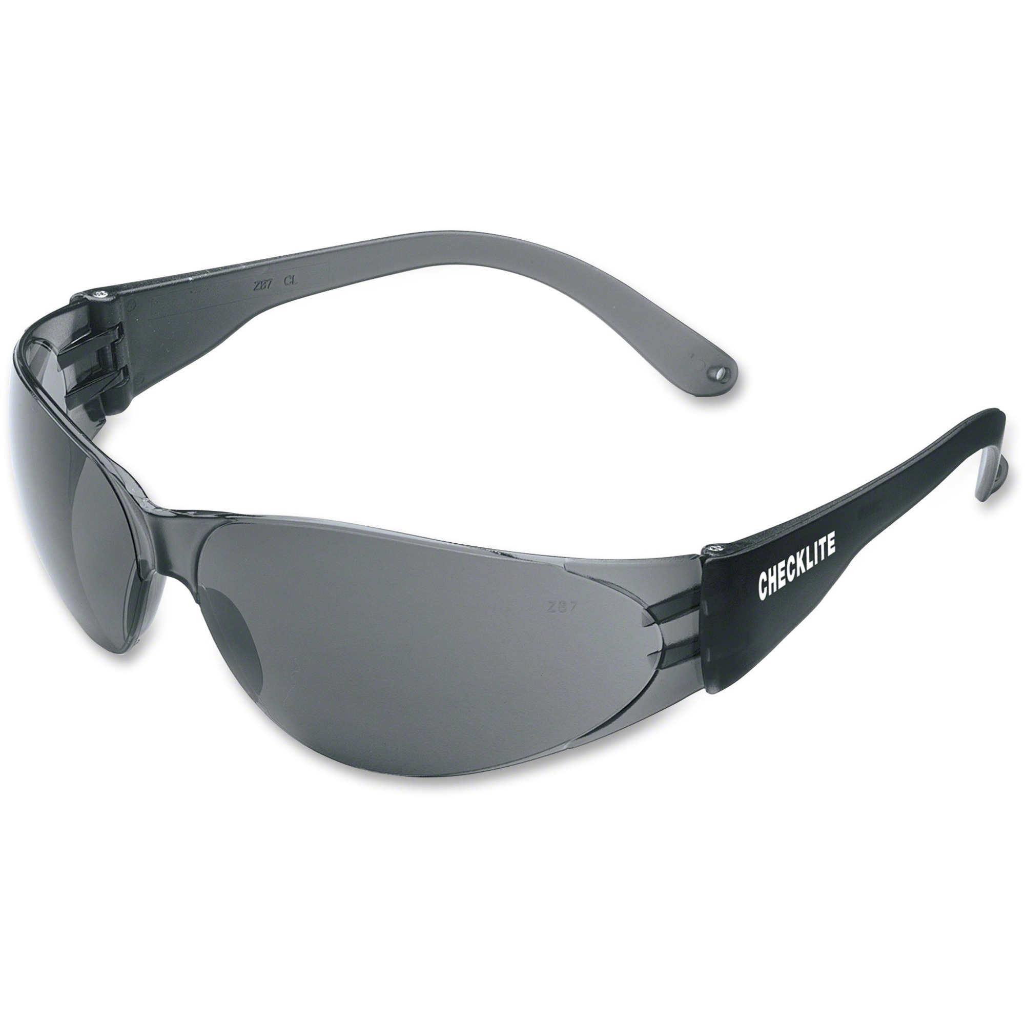 Mcr Safety Crews Checklite Gray Lens Safety Glasses - Comfortable, Scratch Resistant, Lightweight, Adjustable Temple - Ultraviolet Protection - Polycarbonate Lens, Polycarbonate Frame - Gray, Smoke - 1 Each