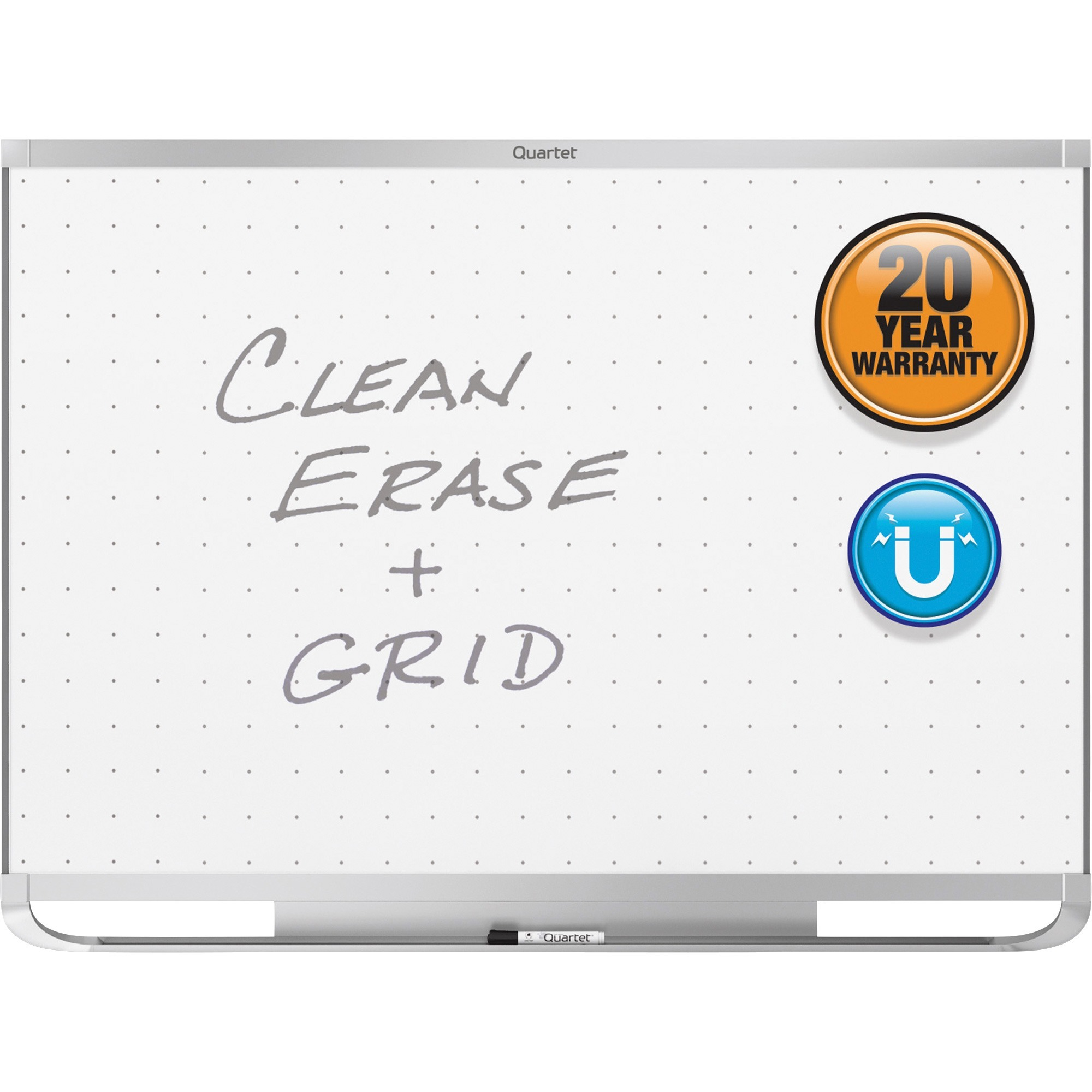 Acco Brands Corporation Quartet® Prestige® 2 Total Erase®magnetic Whiteboard, 6 X 4, Silver Aluminum Frame - 72 (6 Ft) Width X 48 (4 Ft) Height - White Magnetic Surface - Silver Aluminum Frame - Horizontal - 1 / Each