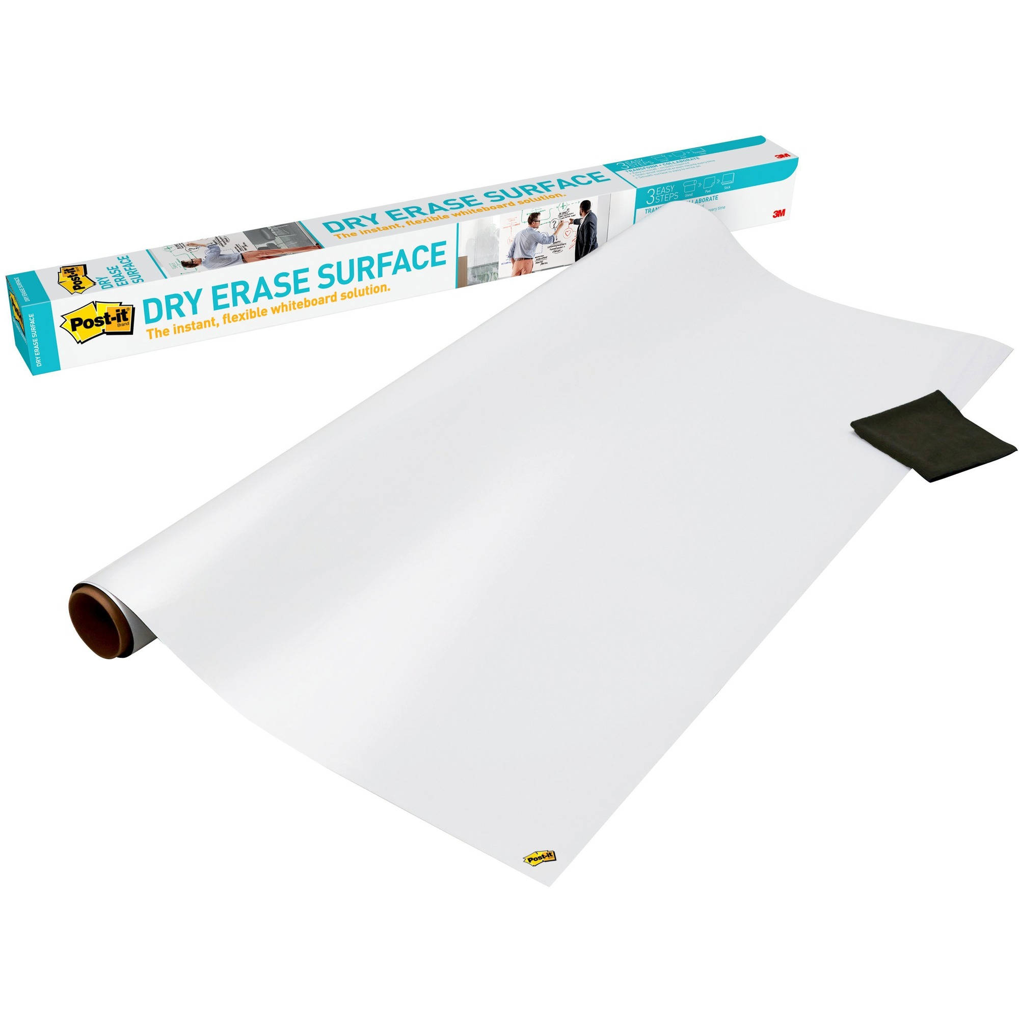 3M Post-it Self-stick Dry Erase Film Surface, 48 X 36, White - 36 (3 Ft) Width X 48 (4 Ft) Length - White - Rectangle - 1 / Pack