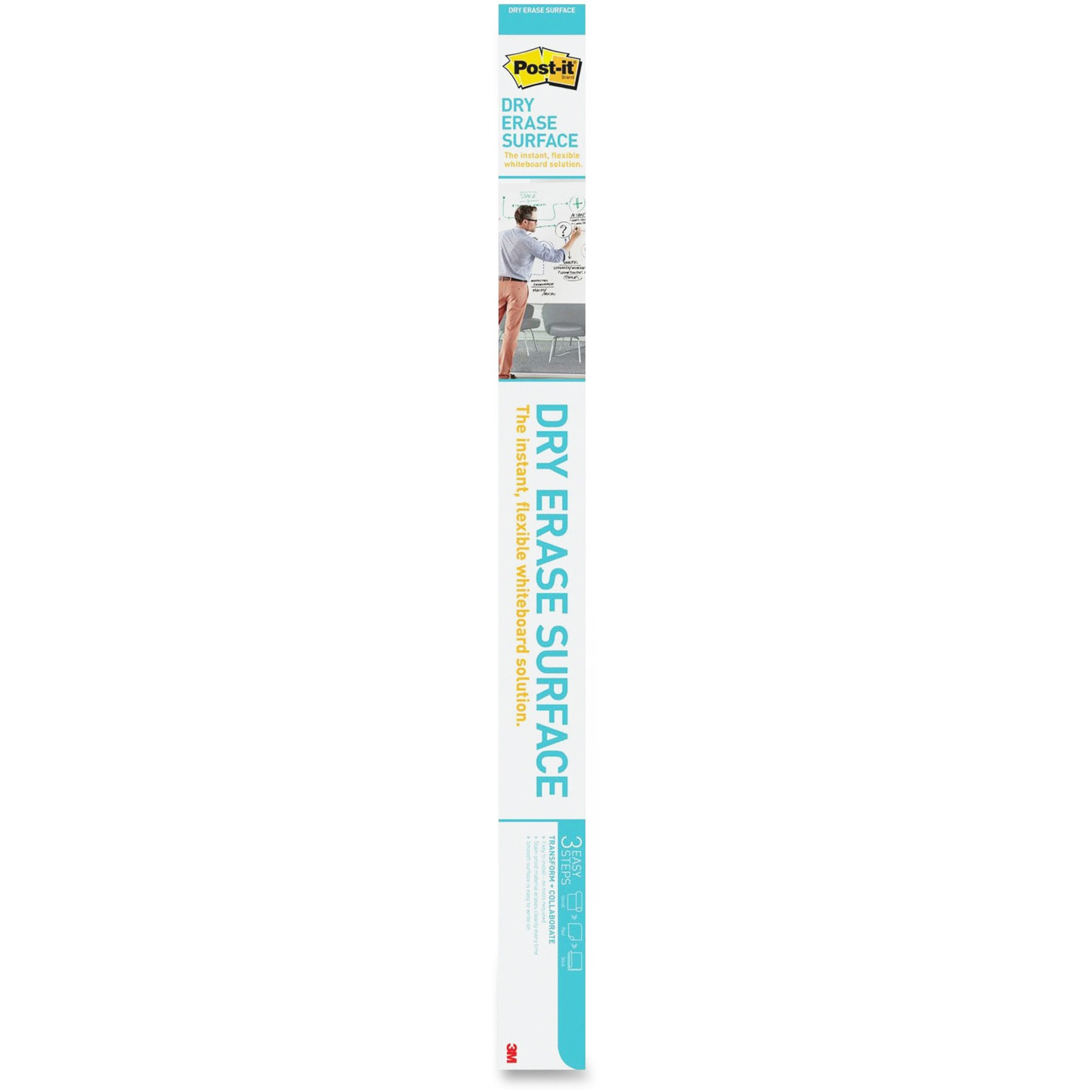 3M Post-it Self-stick Dry Erase Film Surface, 72 X 48, White - 48 (4 Ft) Width X 72 (6 Ft) Length - White - Rectangle - 1 / Pack