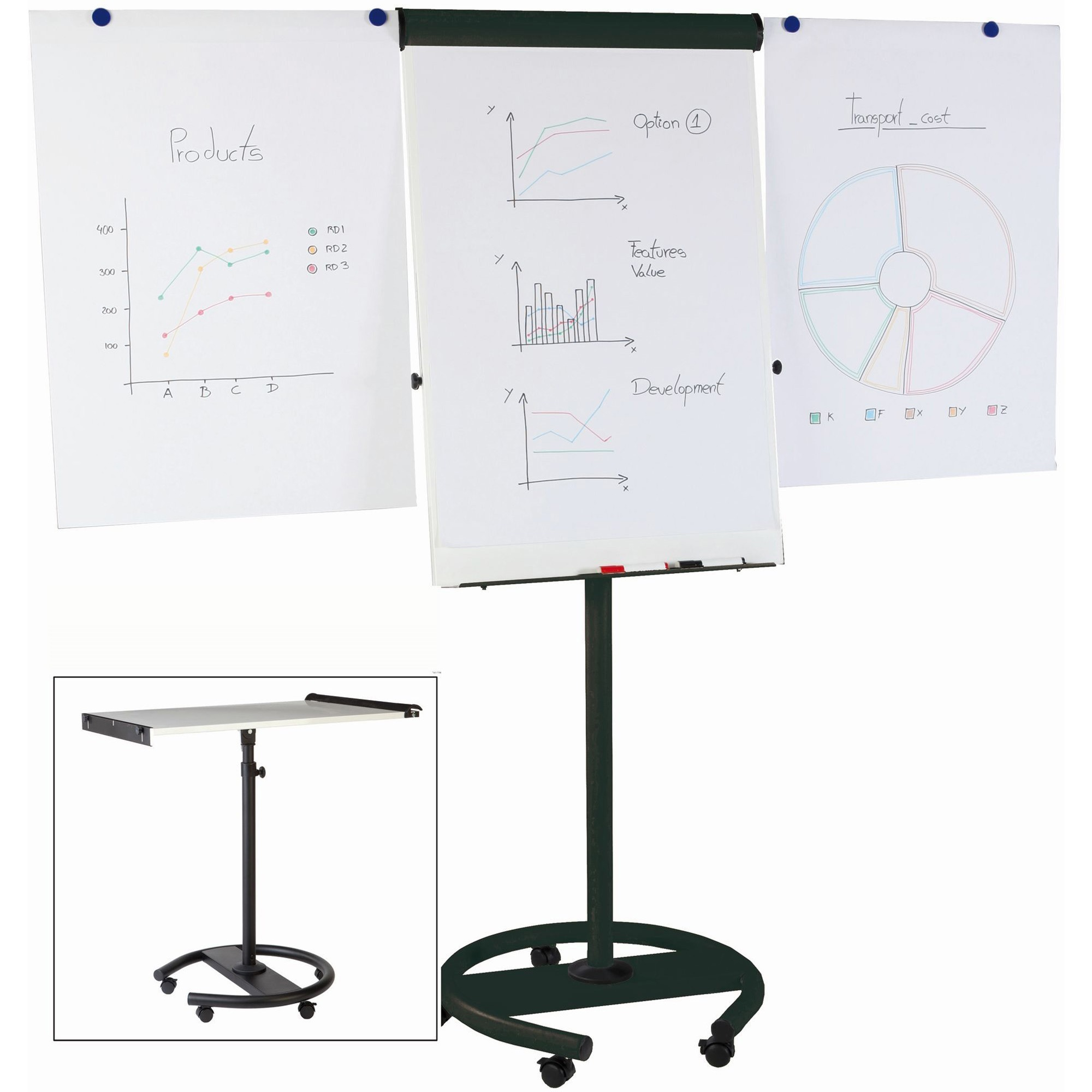 Bi-silque S.a Mastervision Mv 360 Degree Gold Ultra Mobile Easel - 26.5 (2.2 Ft) Width X 38.5 (3.2 Ft) Height - White Lacquered Steel Surface - Black Aluminum Frame - 1 Each