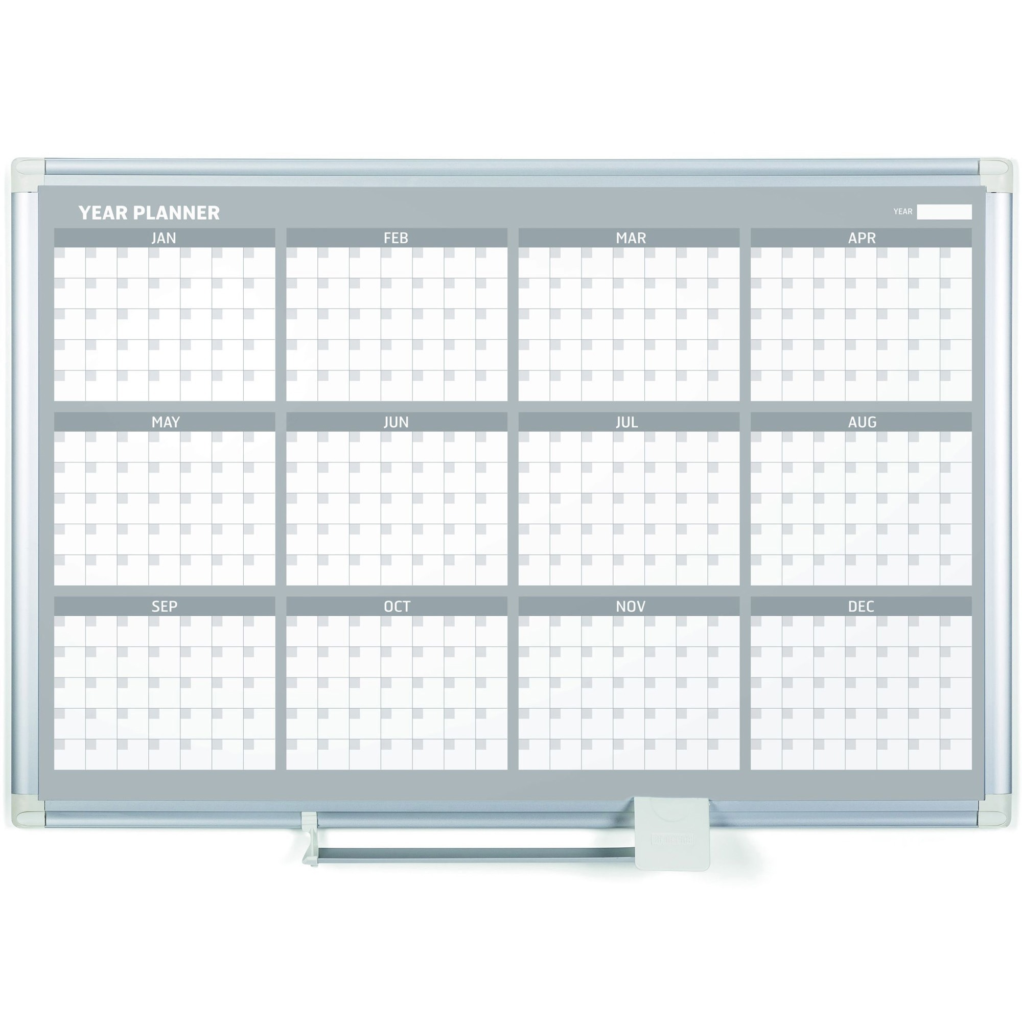 Bi-silque S.a Mastervision 36 12-month Calendar Planning Board - Monthly, Yearly - 1 Year - Wall Mountable - White - Aluminum - Magnetic, Dry Erase Surface, Durable, Reference Calendar, Accessory Tray, Scratch Resistant, Ghost Resistant