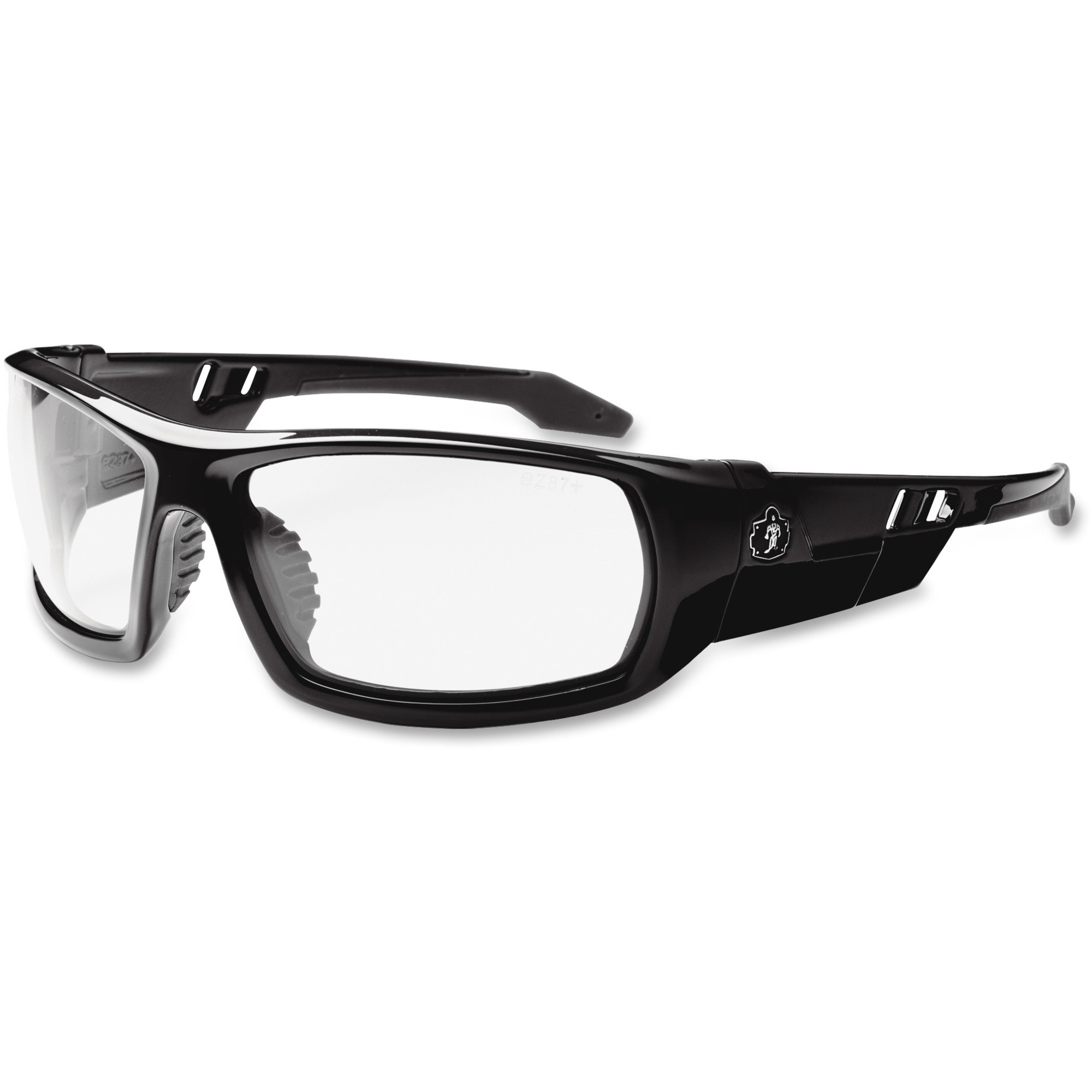 Tenacious Holdings, Inc Ergodyne Skullerz Fog-off Clear Lens Safety Glasses - Durable, Flexible, Non-slip, Scratch Resistant, Anti-fog, Perspiration Resistant - Ultraviolet Protection - Polycarbonate Lens, Nylon Frame, Polycarbonate Temple - Black - 1 Eac