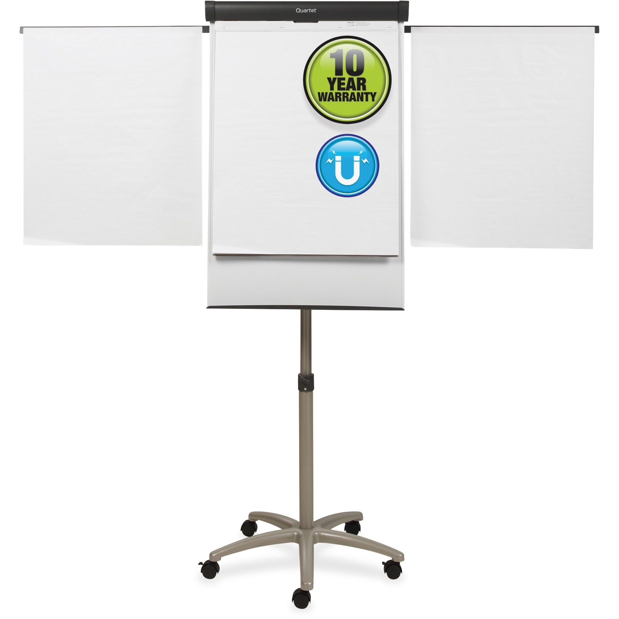 Acco Brands Corporation Quartet® Compass Mobile Presentation Easel, Magnetic Whiteboared/flipchart, 3 X 2, Graphite Finish Frame - 36 (3 Ft) Width X 24 (2 Ft) Height - White Painted Steel Surface - Graphite Aluminum Frame - Horizontal - 1 Each